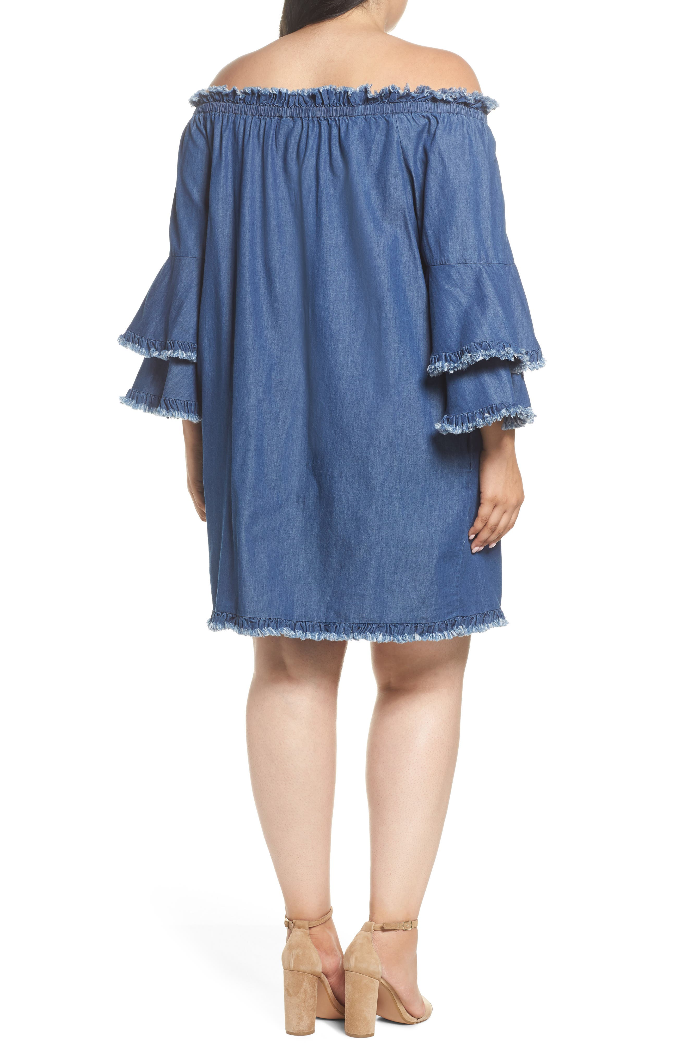 Bell Sleeve Off the Shoulder Denim Shift Dress,                             Alternate thumbnail 2, color,                             INDIGO
