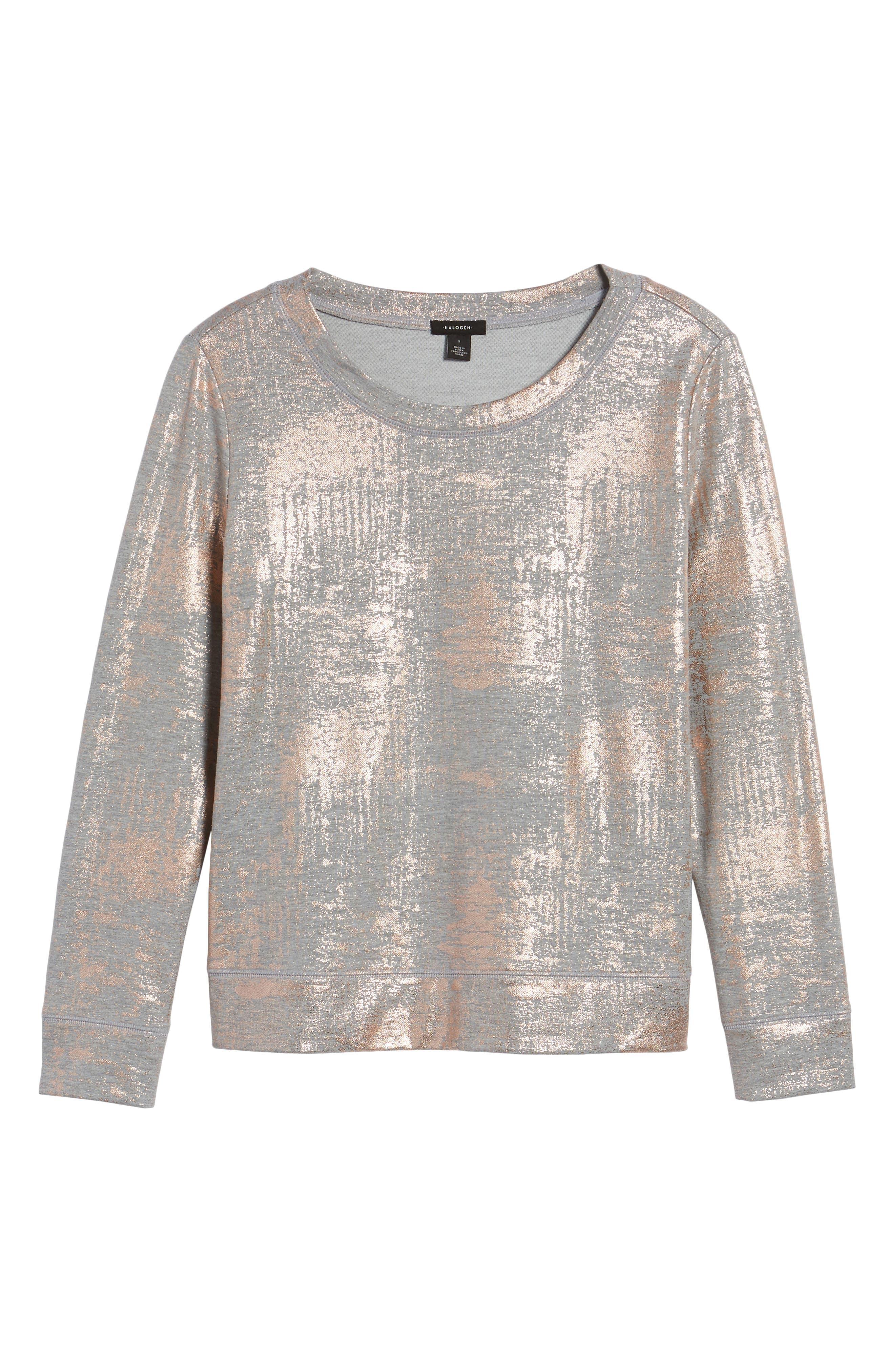 Foiled Sweatshirt,                             Alternate thumbnail 6, color,                             020