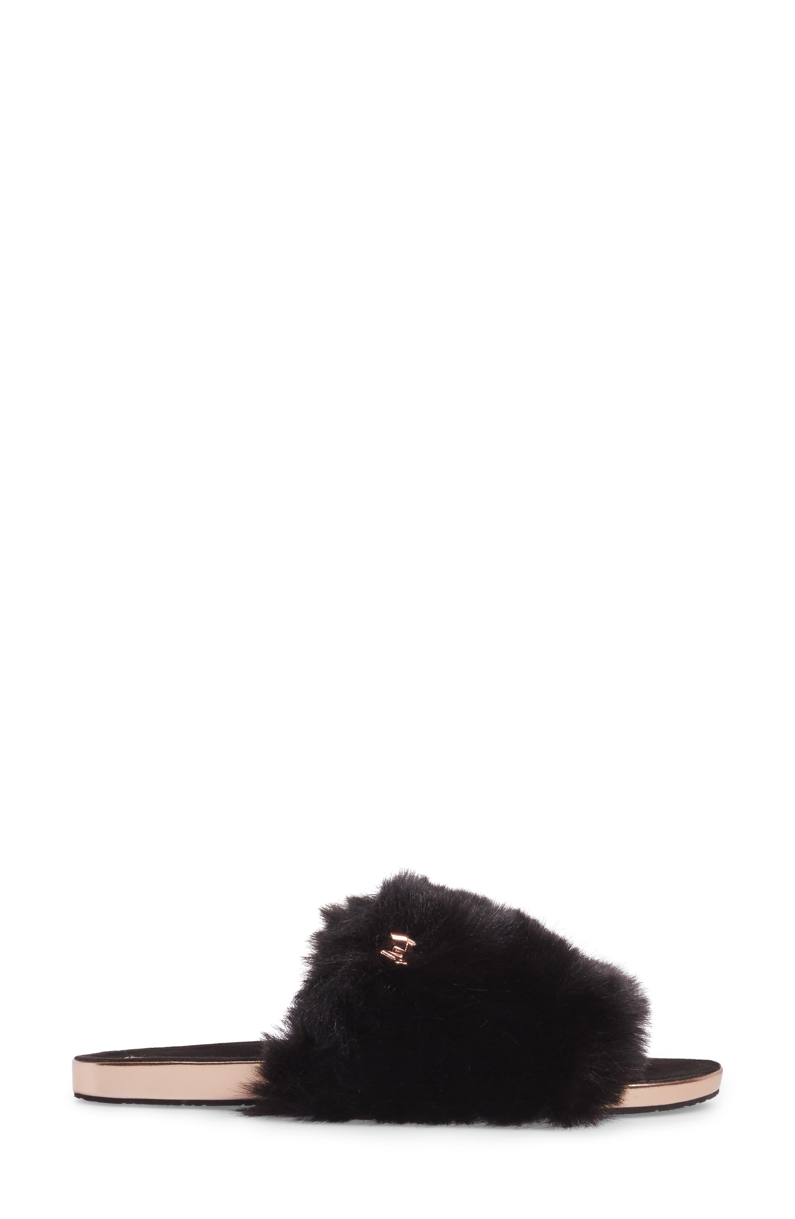 Pancey Faux Fur Slipper,                             Alternate thumbnail 3, color,                             001