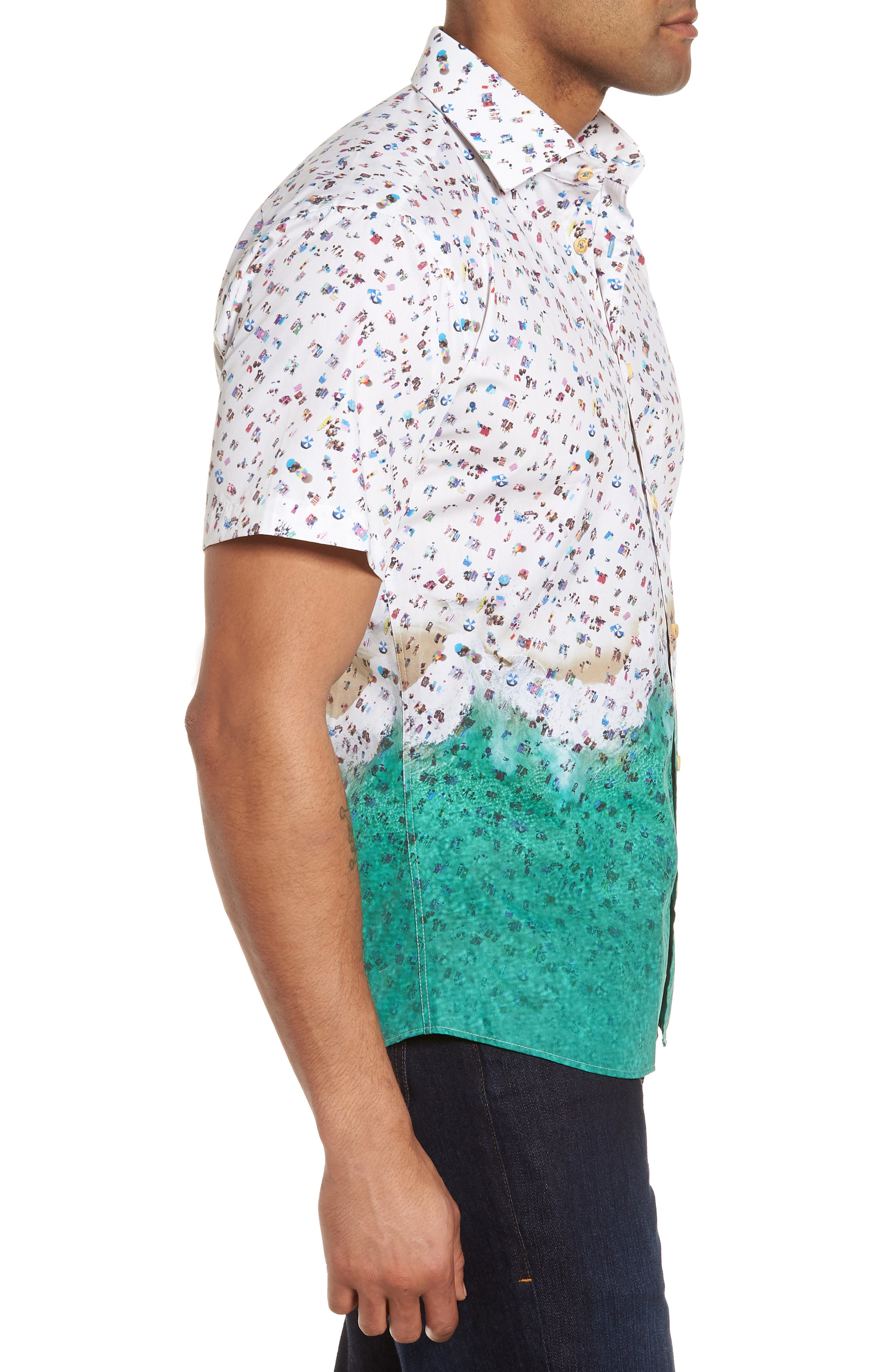 Slim Fit Beach Sport Shirt,                             Alternate thumbnail 3, color,                             990