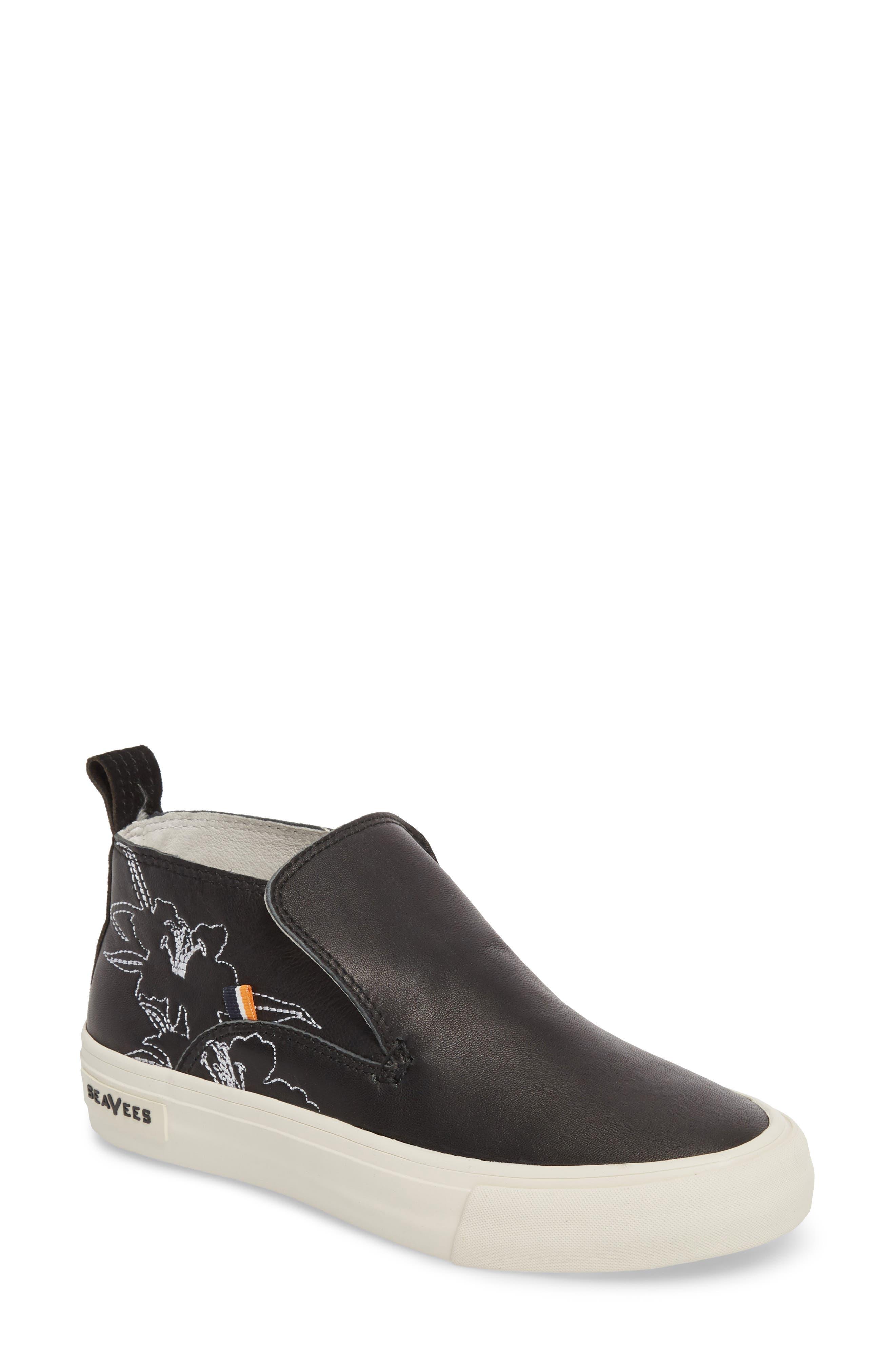 x Derek Lam 10 Crosby Huntington Middie Sneaker,                         Main,                         color, BLACK LEATHER