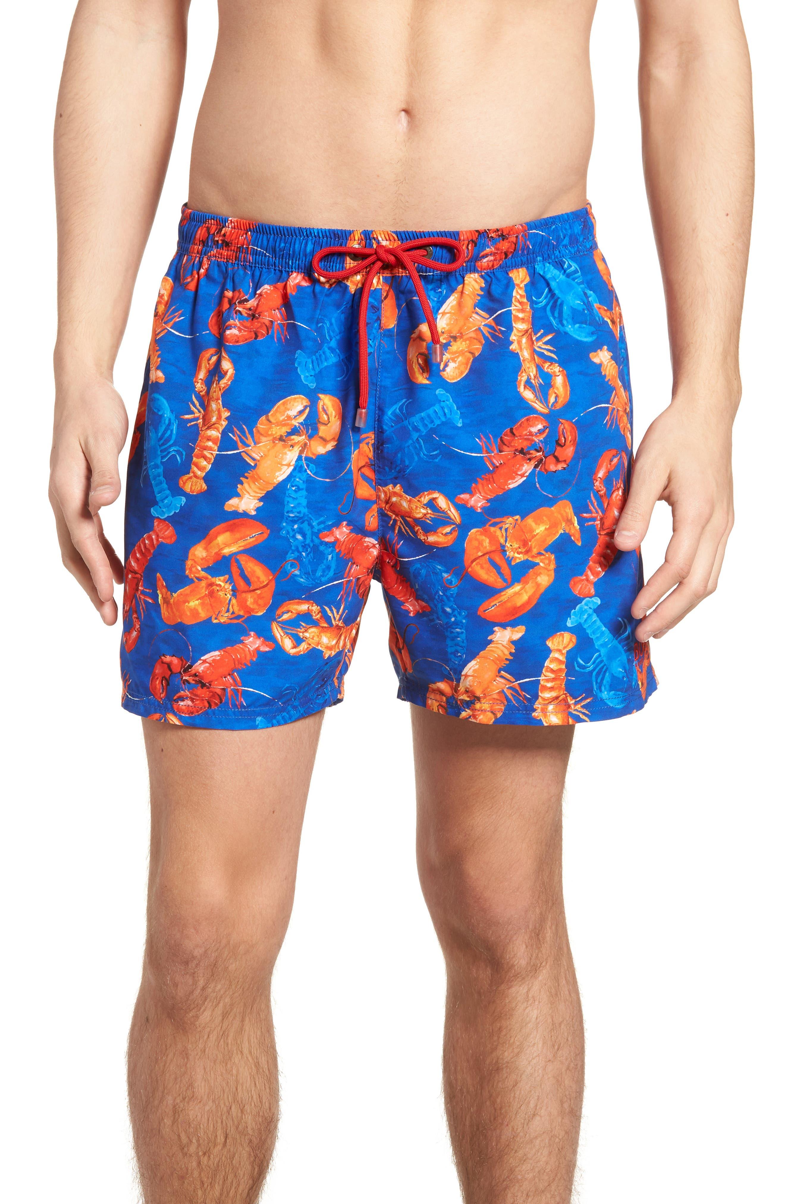 BOSS Piranha Lobster Swim Trunks, Main, color, 460