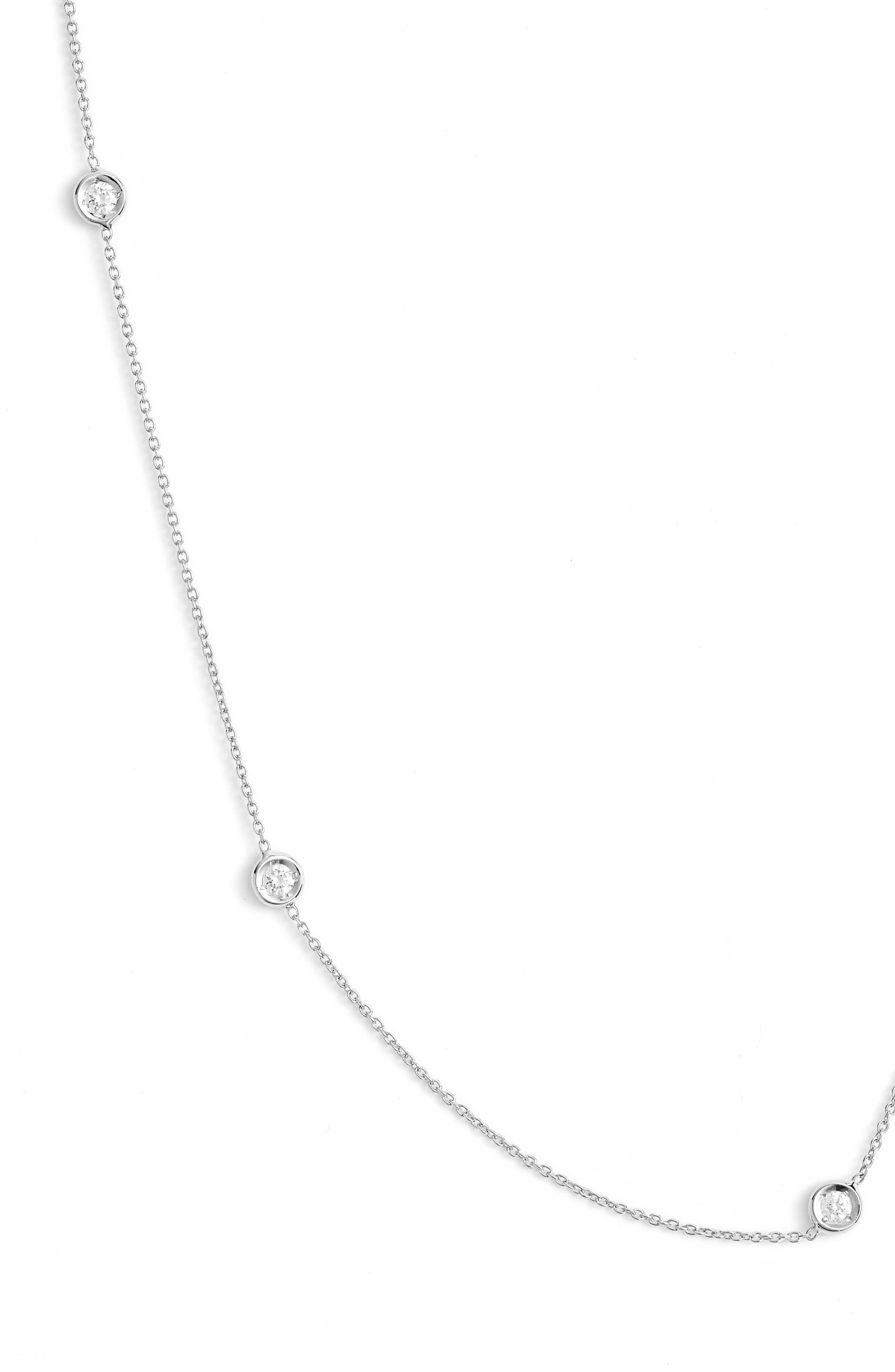 Diamond Station Necklace,                             Alternate thumbnail 2, color,                             D0.23 GHSI 18KWG
