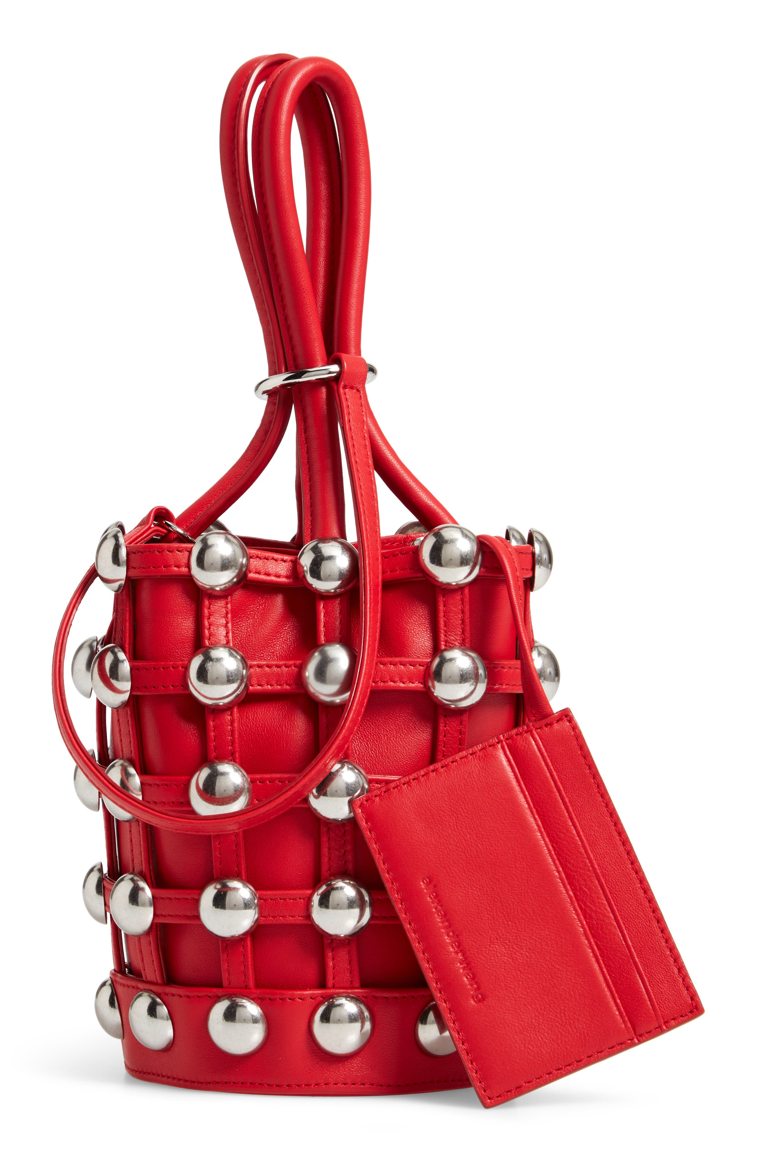 Mini Roxy Studded Cage Leather Bucket Bag,                             Alternate thumbnail 3, color,                             RED