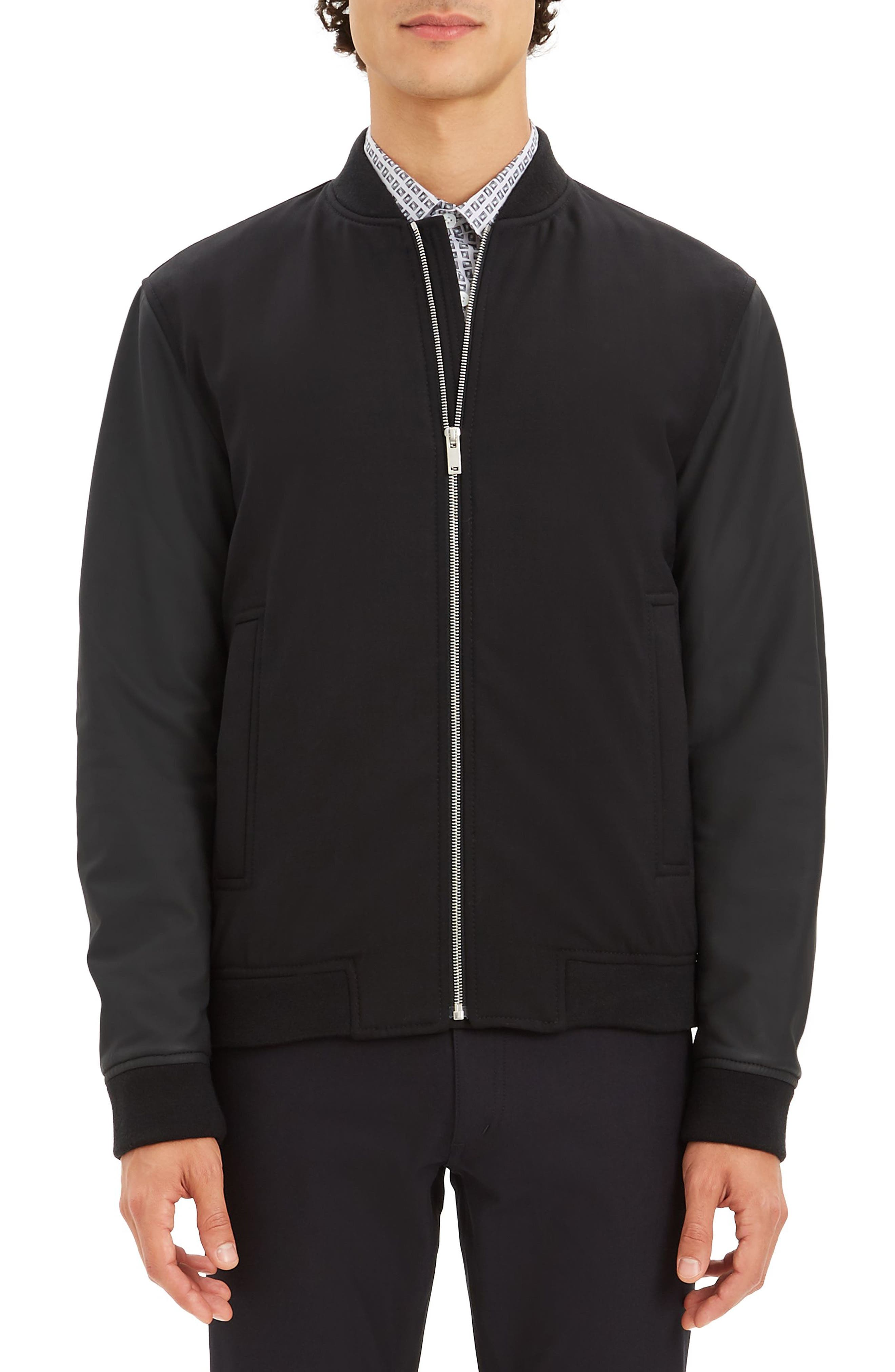 Stretch Wool Bomber Jacket,                         Main,                         color, BLACK