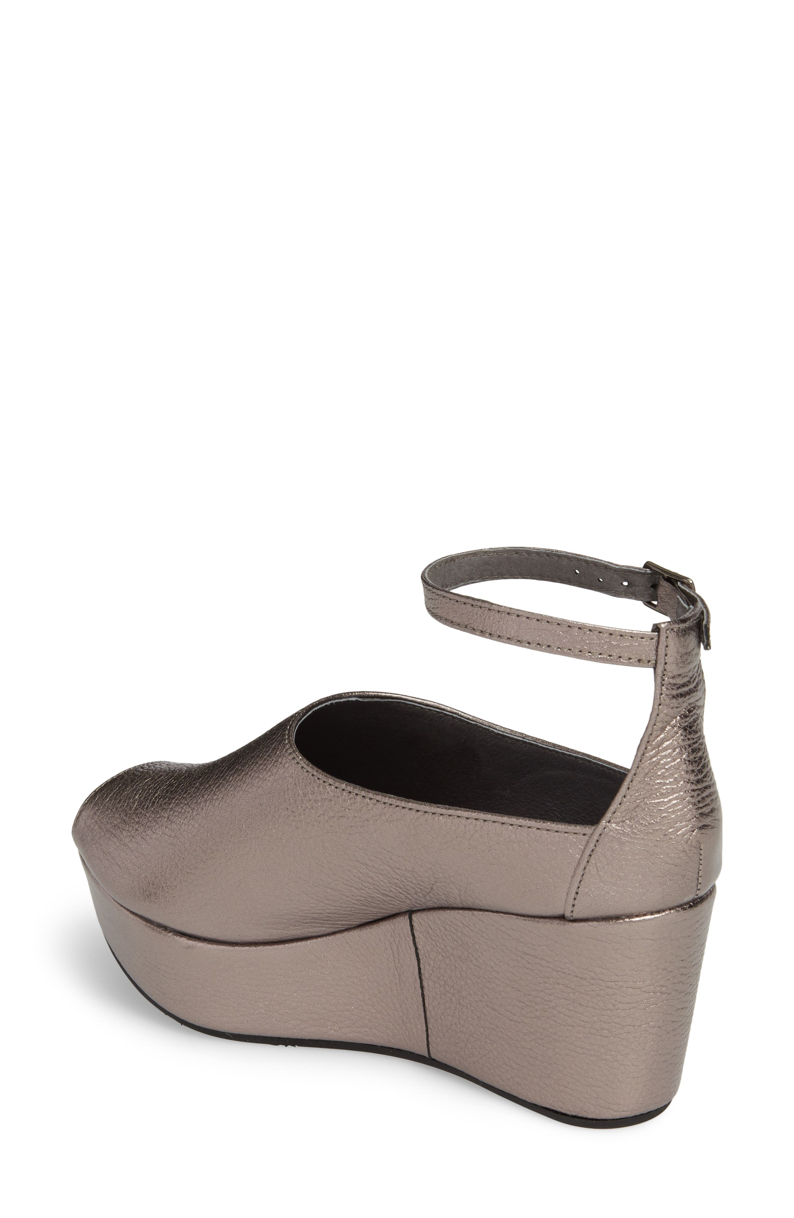 Walter Ankle Strap Wedge Sandal,                             Alternate thumbnail 2, color,                             GUNMETAL LEATHER