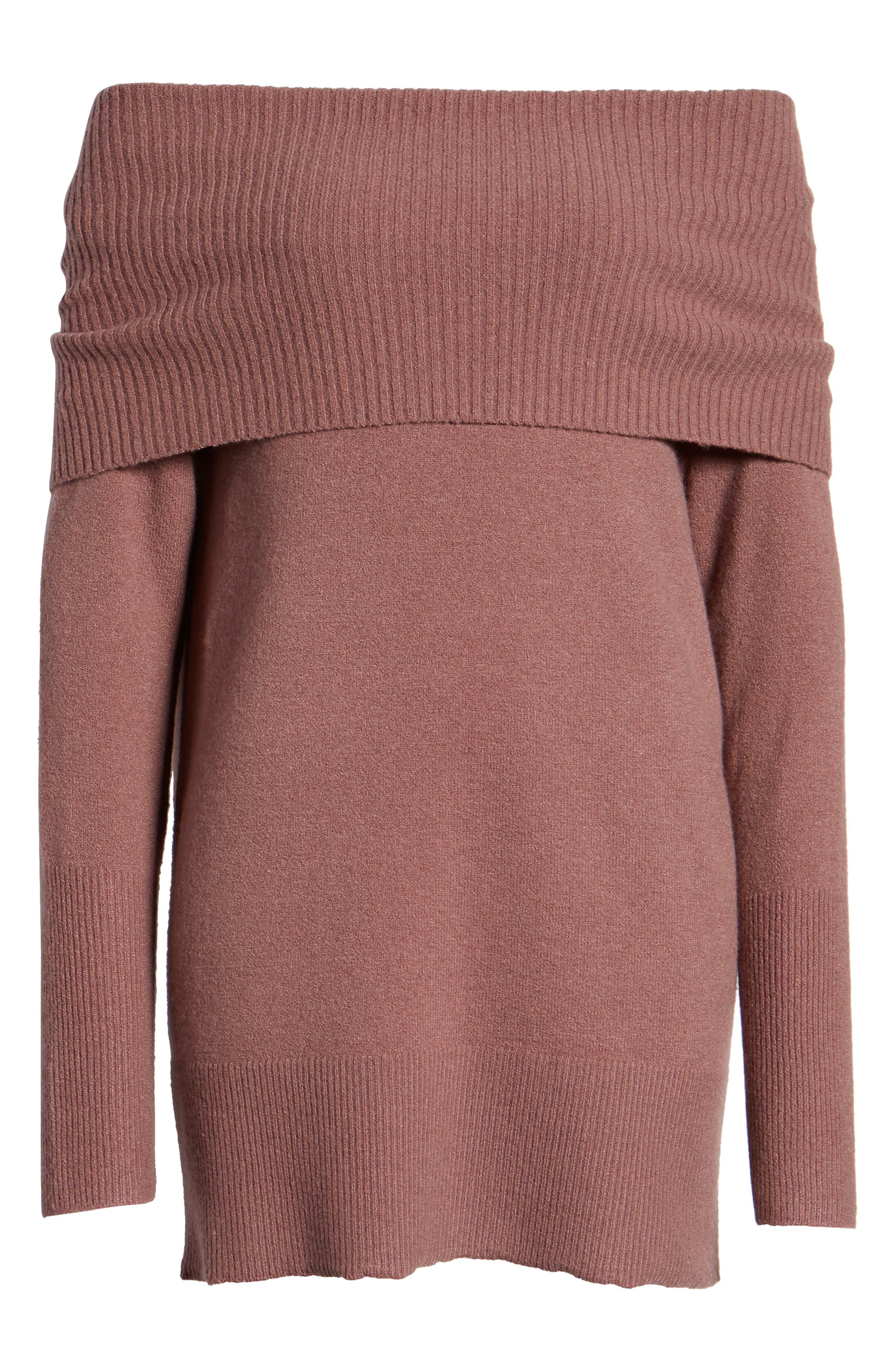 Convertible Neck Sweater,                             Alternate thumbnail 6, color,                             PURPLE TAUPE