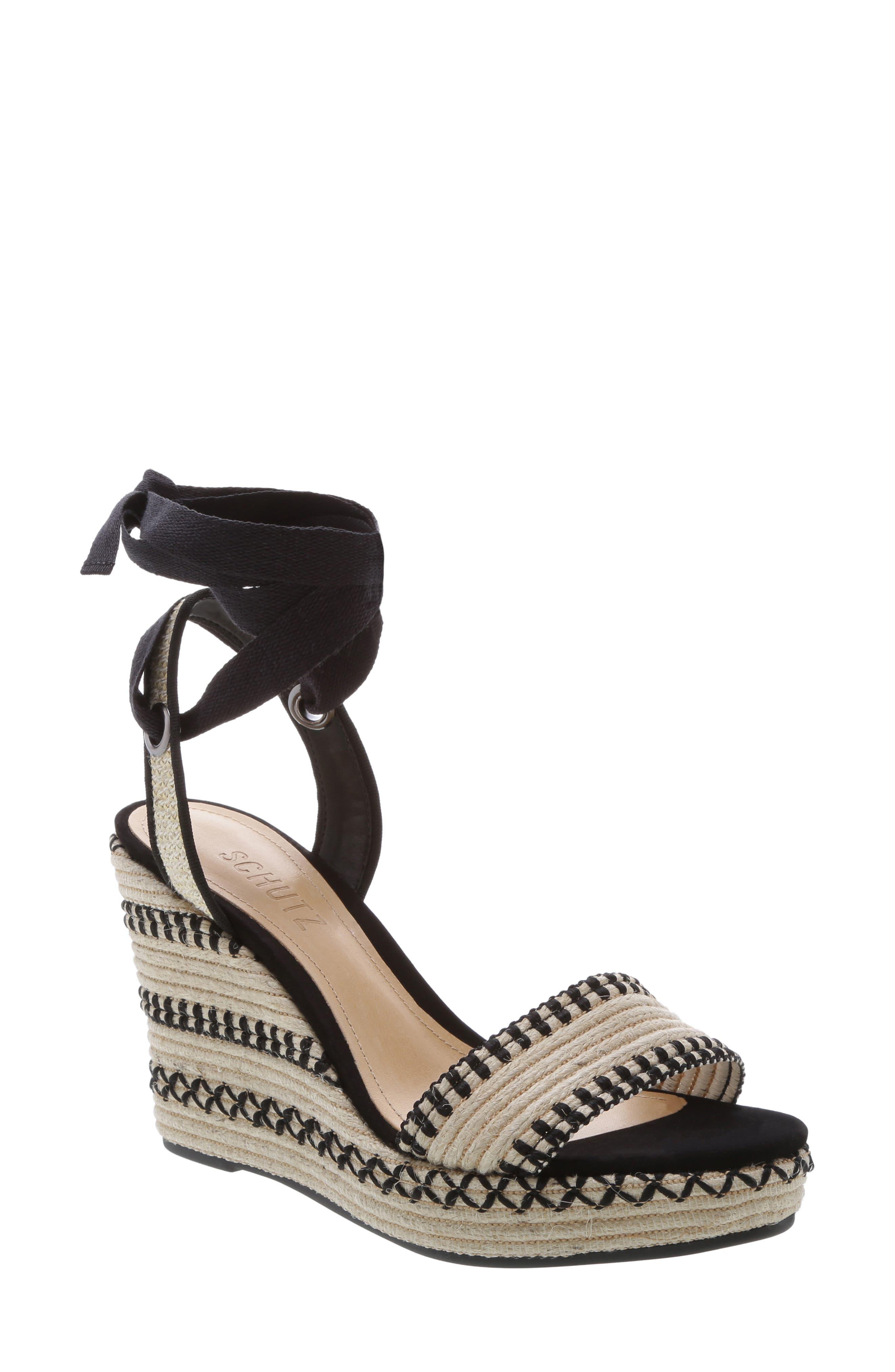 Electra Platform Wedge Sandal,                             Main thumbnail 1, color,                             NATURAL BLACK FABRIC