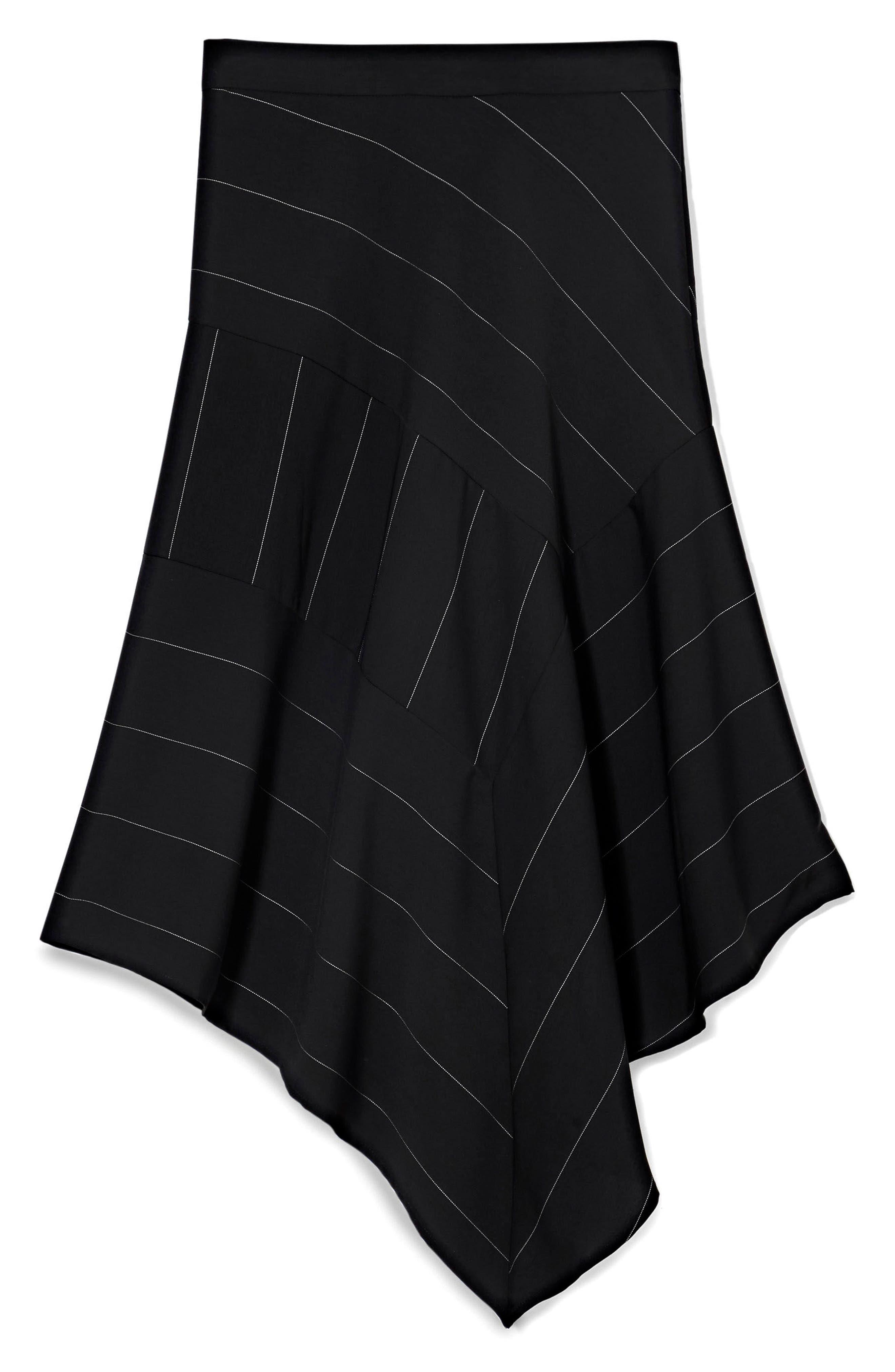 Chalk Stripe Asymmetrical Hem Skirt,                             Alternate thumbnail 3, color,                             006