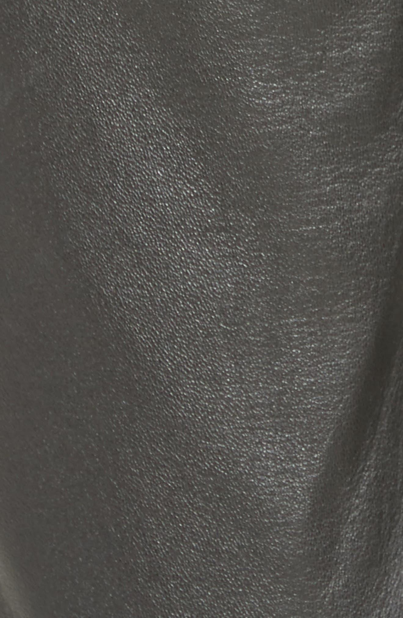 High Waist Leather Pants,                             Alternate thumbnail 5, color,                             001