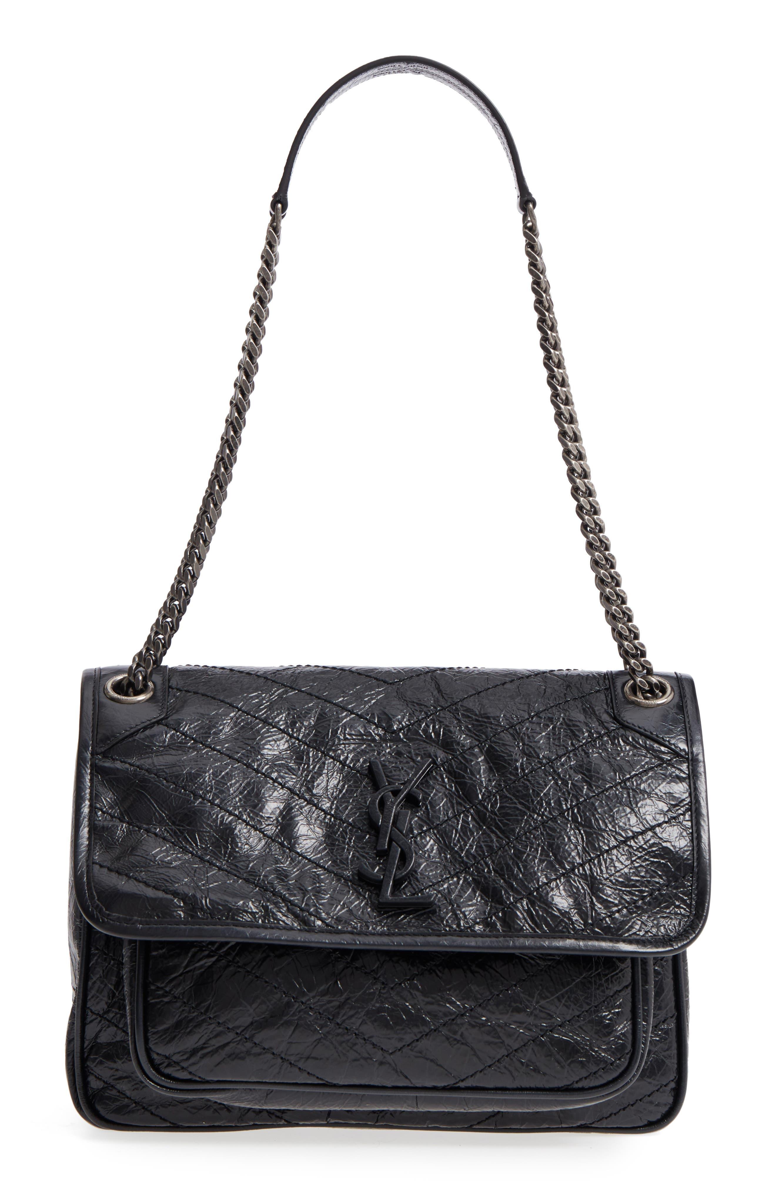Medium Niki Leather Shoulder Bag,                             Main thumbnail 1, color,                             BLACK