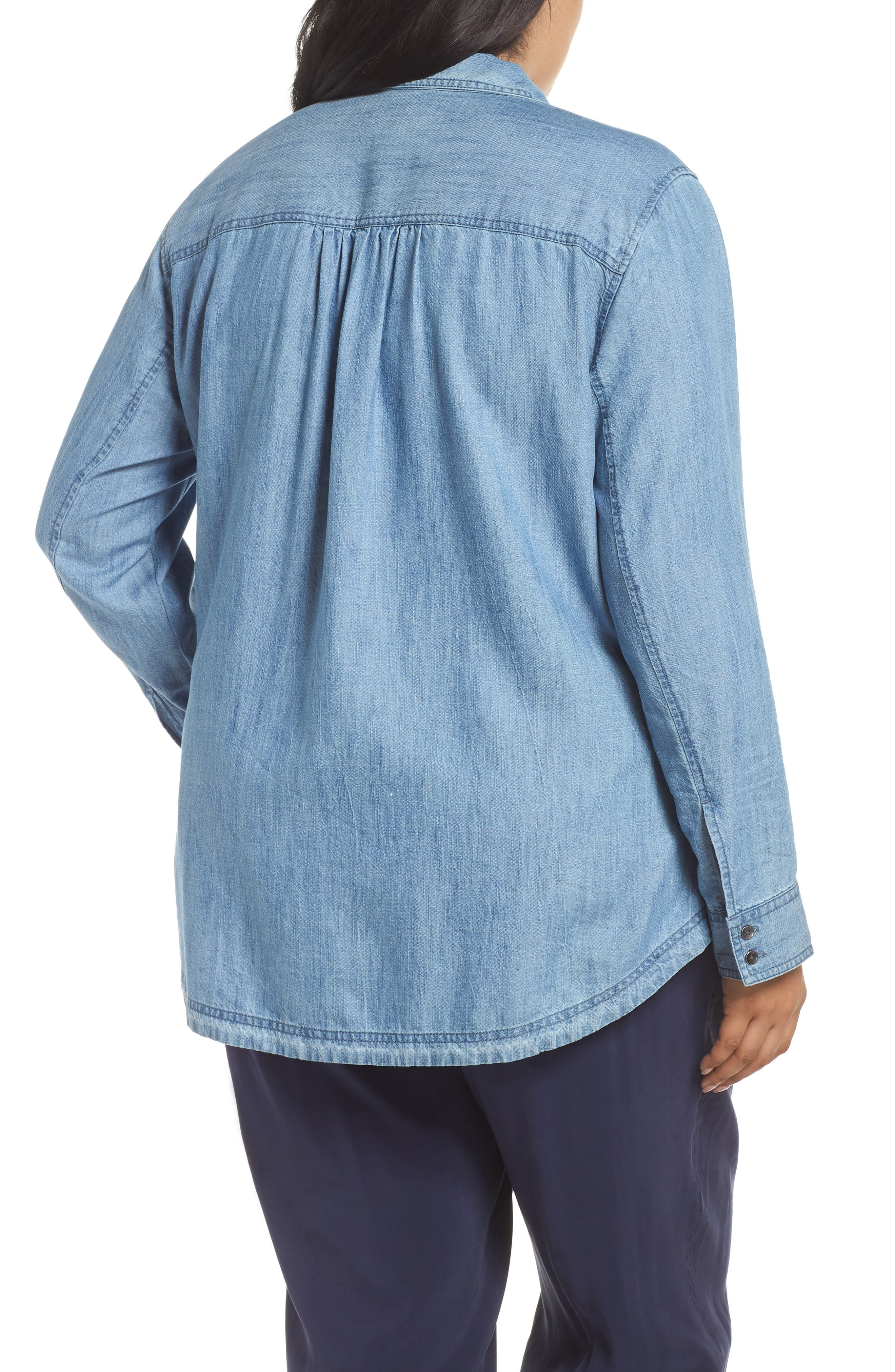 Button Front Chambray Shirt,                             Alternate thumbnail 2, color,                             421