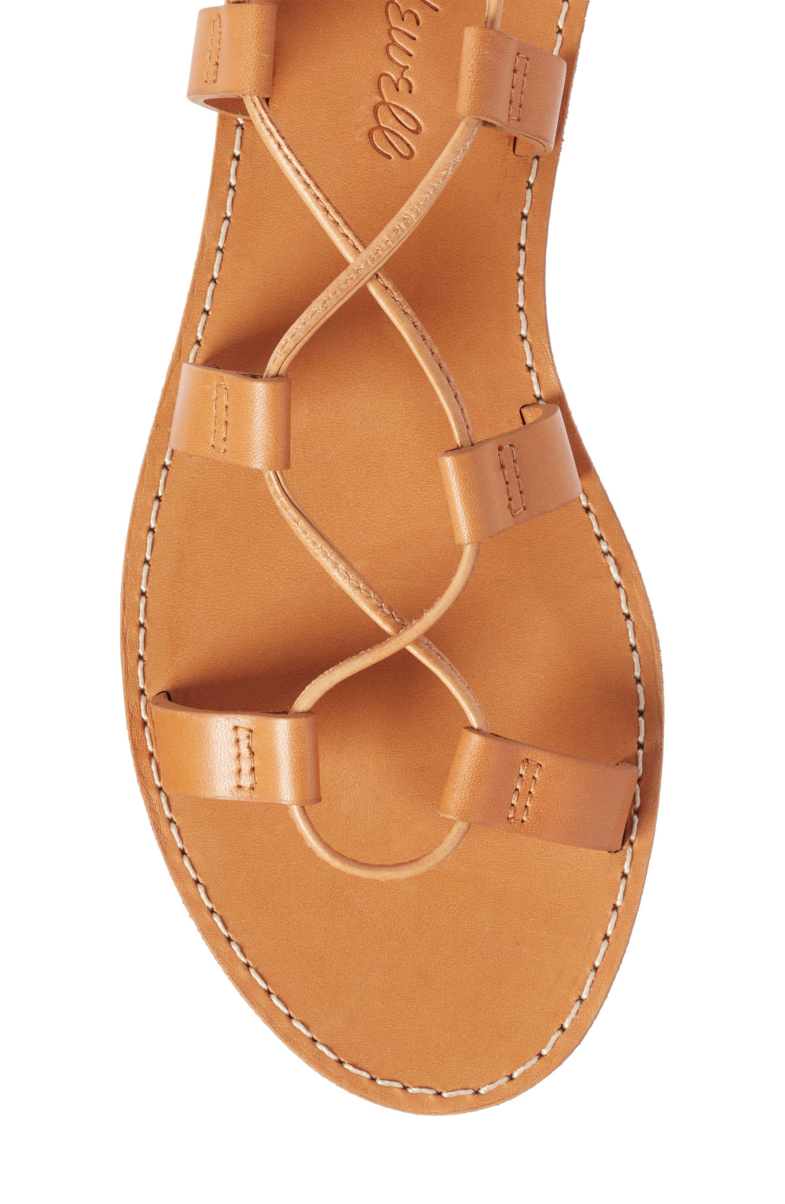 The Boardwalk Lace-Up Sandal,                             Alternate thumbnail 5, color,                             DESERT CAMEL LEATHER