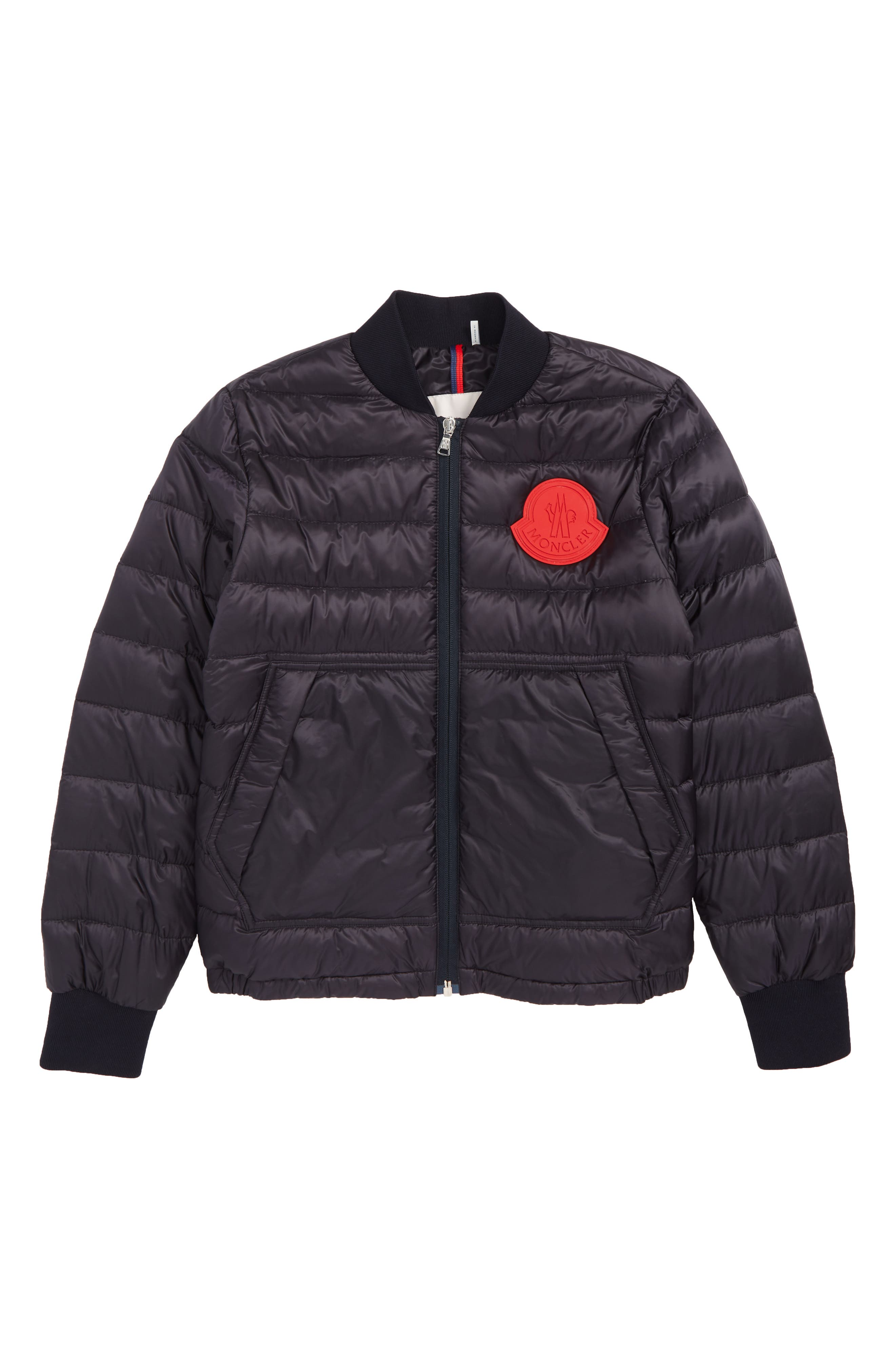 MONCLER,                             Motu Quilted Down Bomber Jacket,                             Main thumbnail 1, color,                             742 NAVY