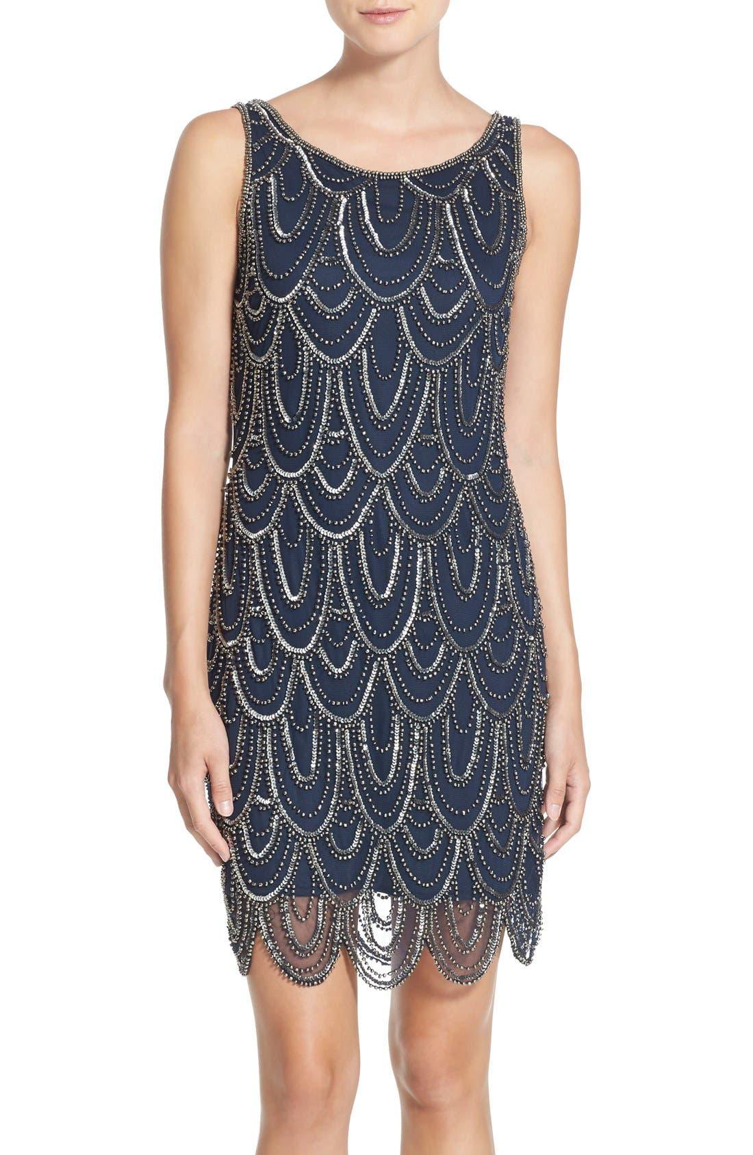 Embellished Mesh Sheath Dress,                             Alternate thumbnail 60, color,