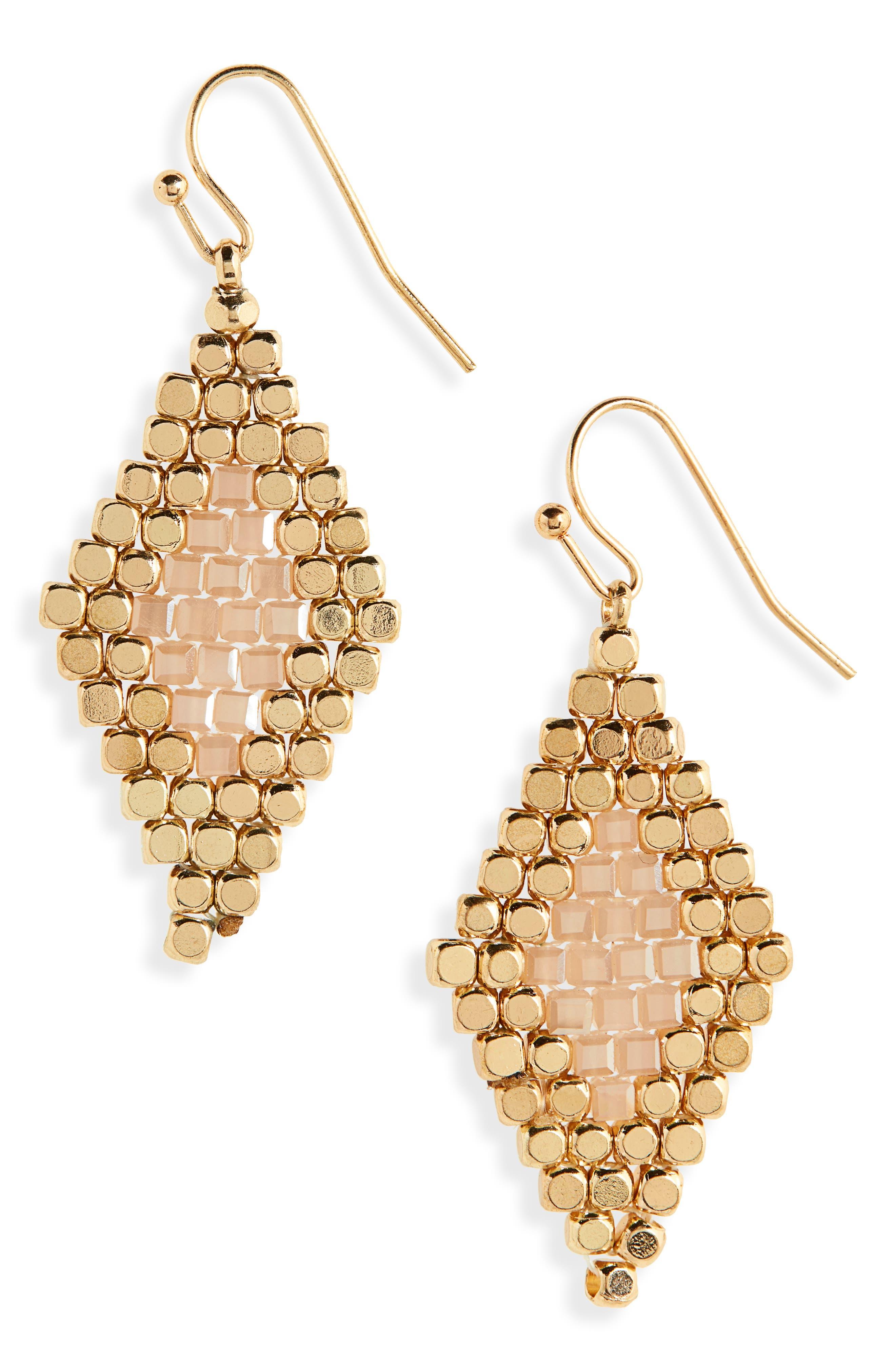 PANACEA Bead & Crystal Earrings in Gold