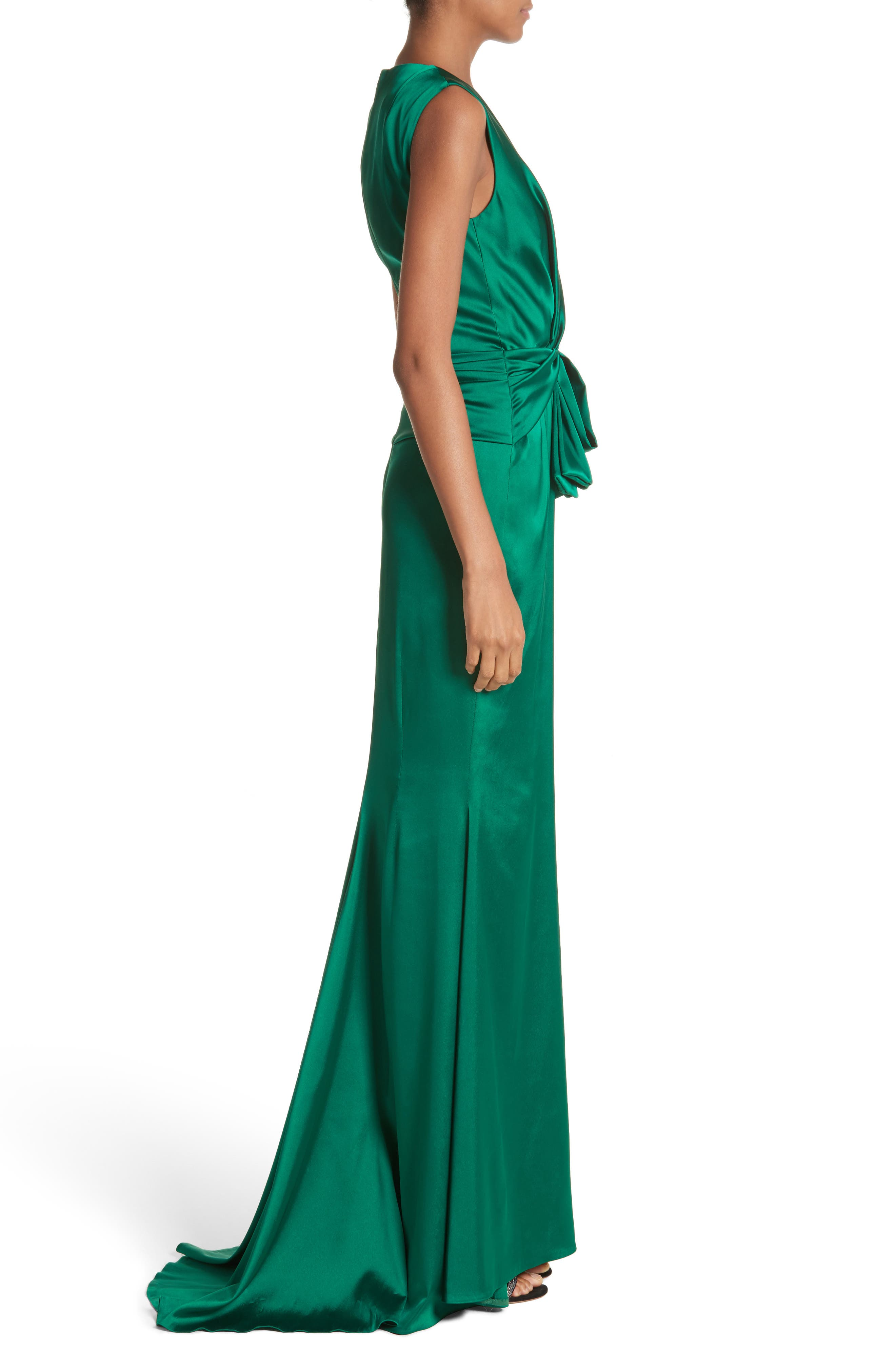 Crepe Satin V-Neck Gown,                             Alternate thumbnail 3, color,                             EMERALD