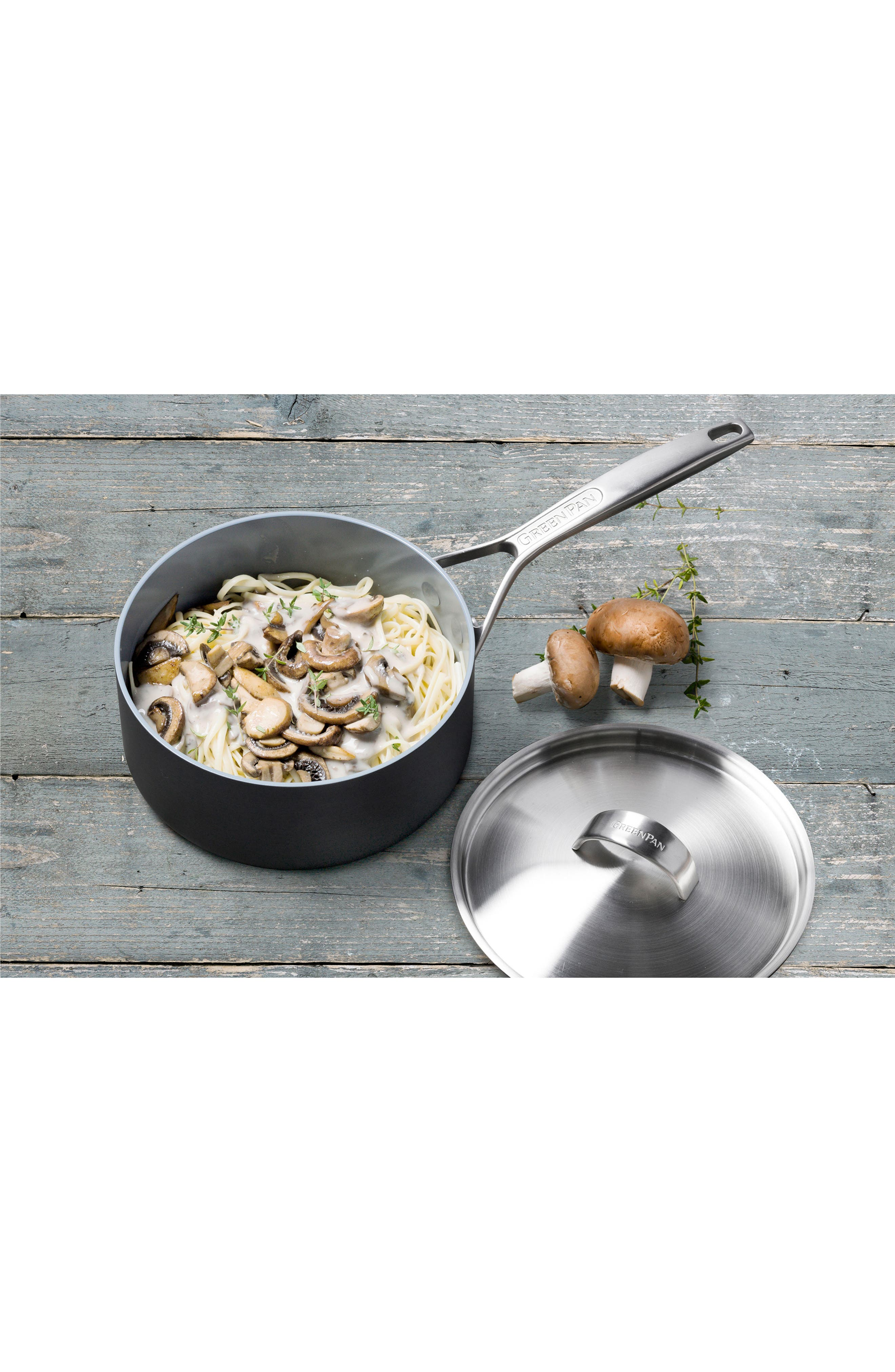 Paris 3-Quart Multilayer Stainless Steel Ceramic Nonstick Saucepan with Lid,                             Alternate thumbnail 3, color,                             GREY