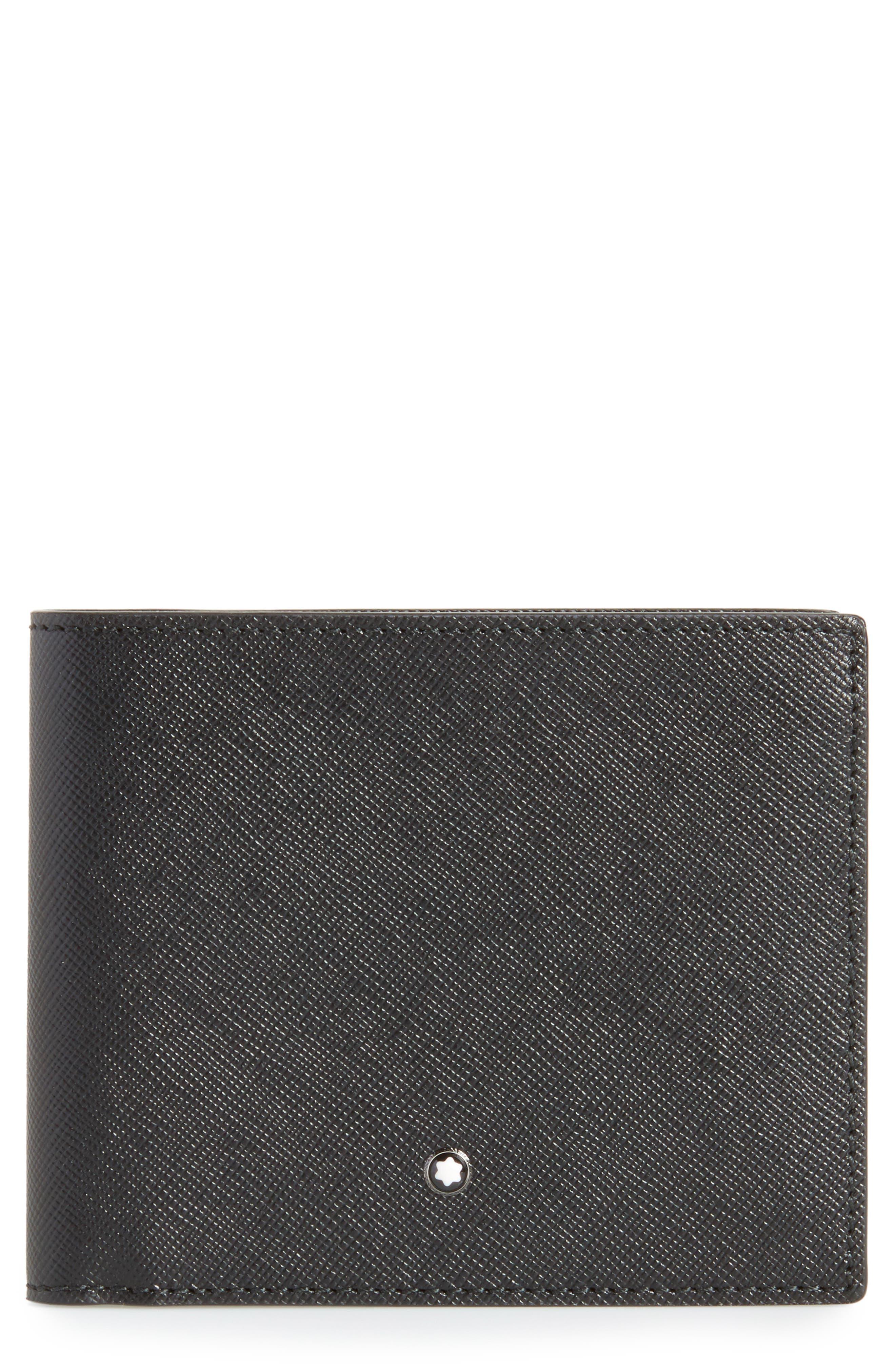 Sartorial Leather Wallet,                         Main,                         color, BLACK