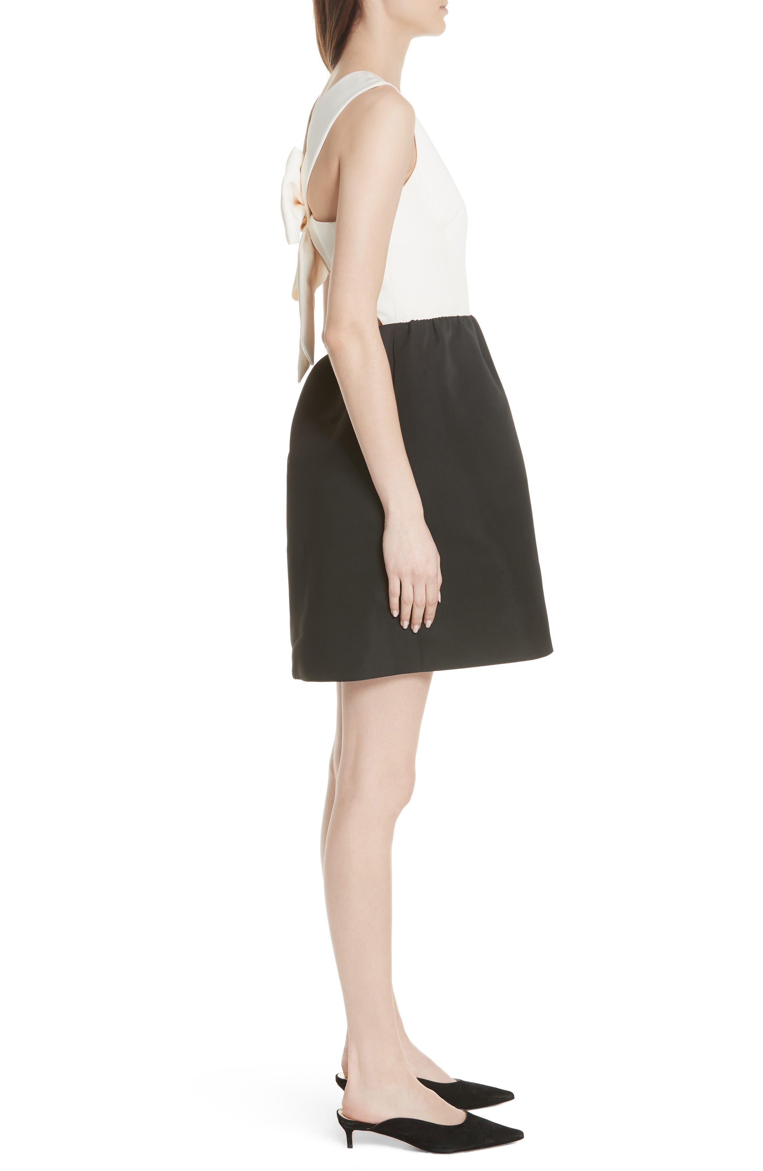 bow back mini dress,                             Alternate thumbnail 3, color,                             017