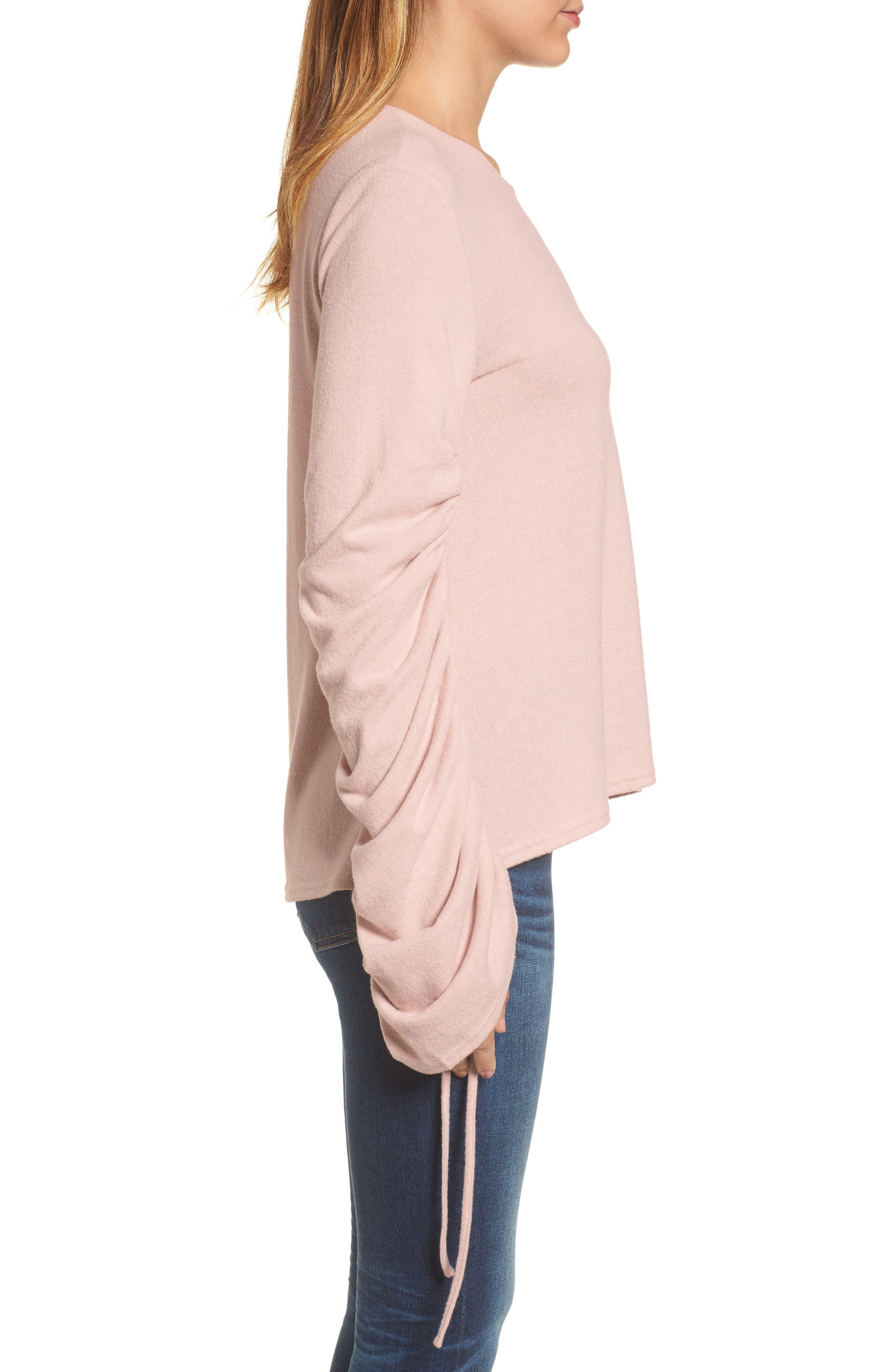 Brushed Jersey Ruched Sleeve Top,                             Alternate thumbnail 6, color,