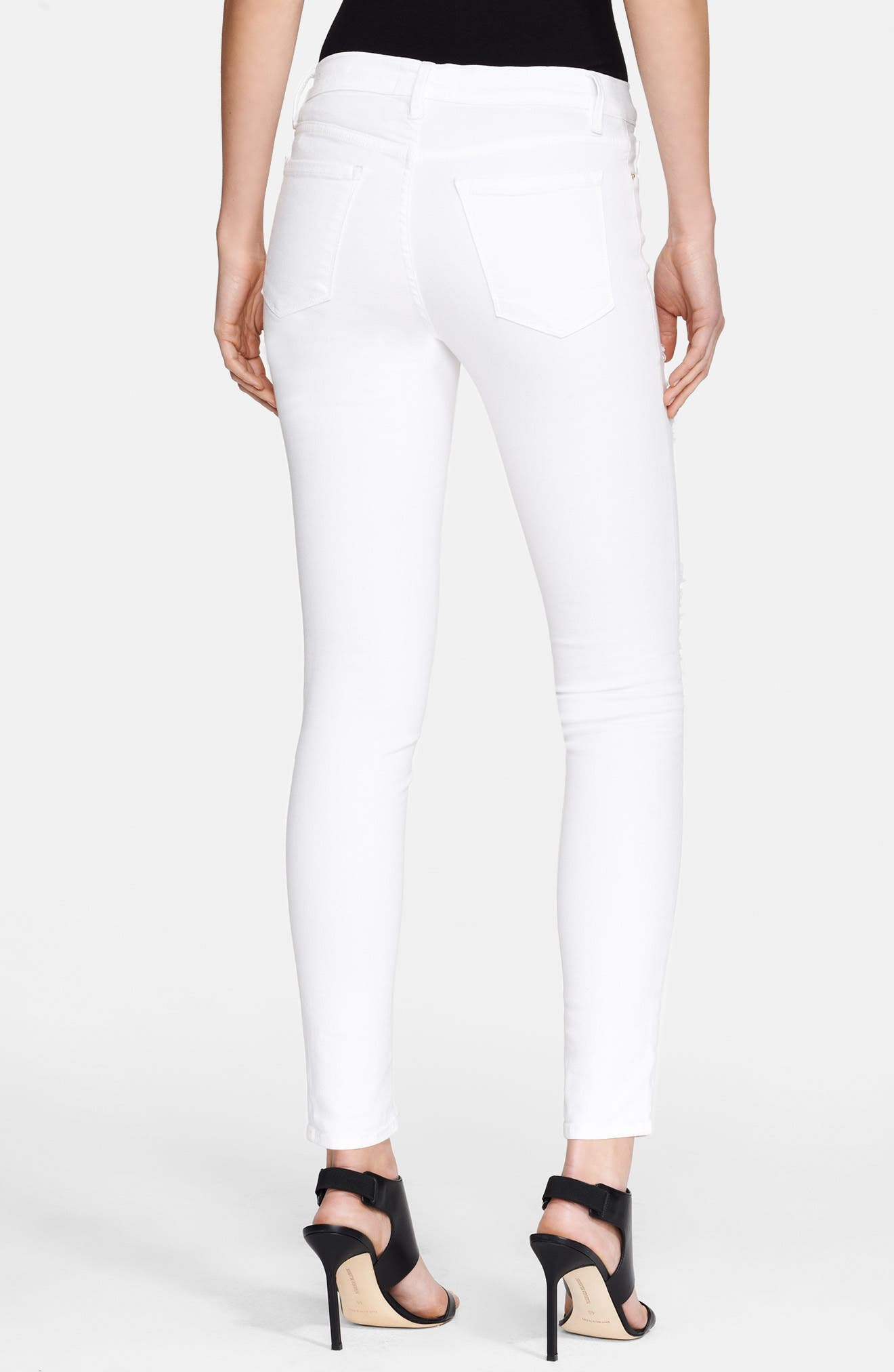 Le Color Rip Skinny Jeans,                             Alternate thumbnail 3, color,                             BLANC