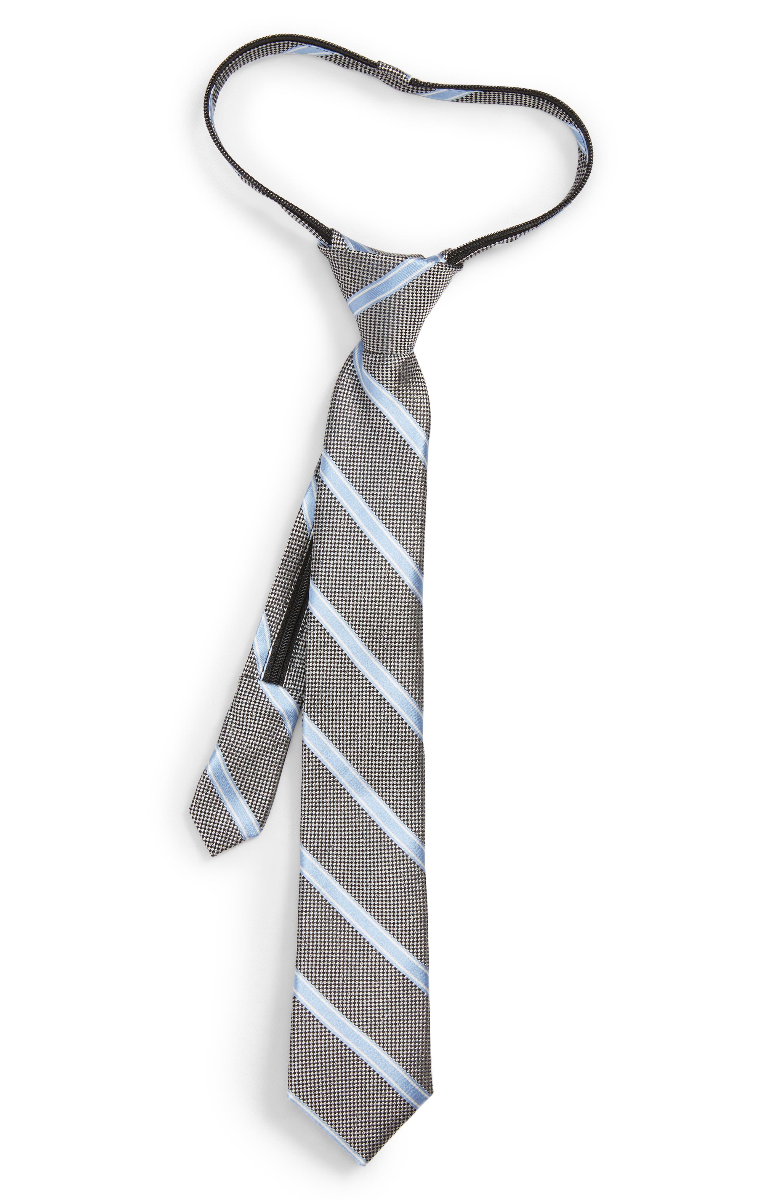 Boys Nordstrom Stripe Silk Zip Tie Size One Size  Metallic