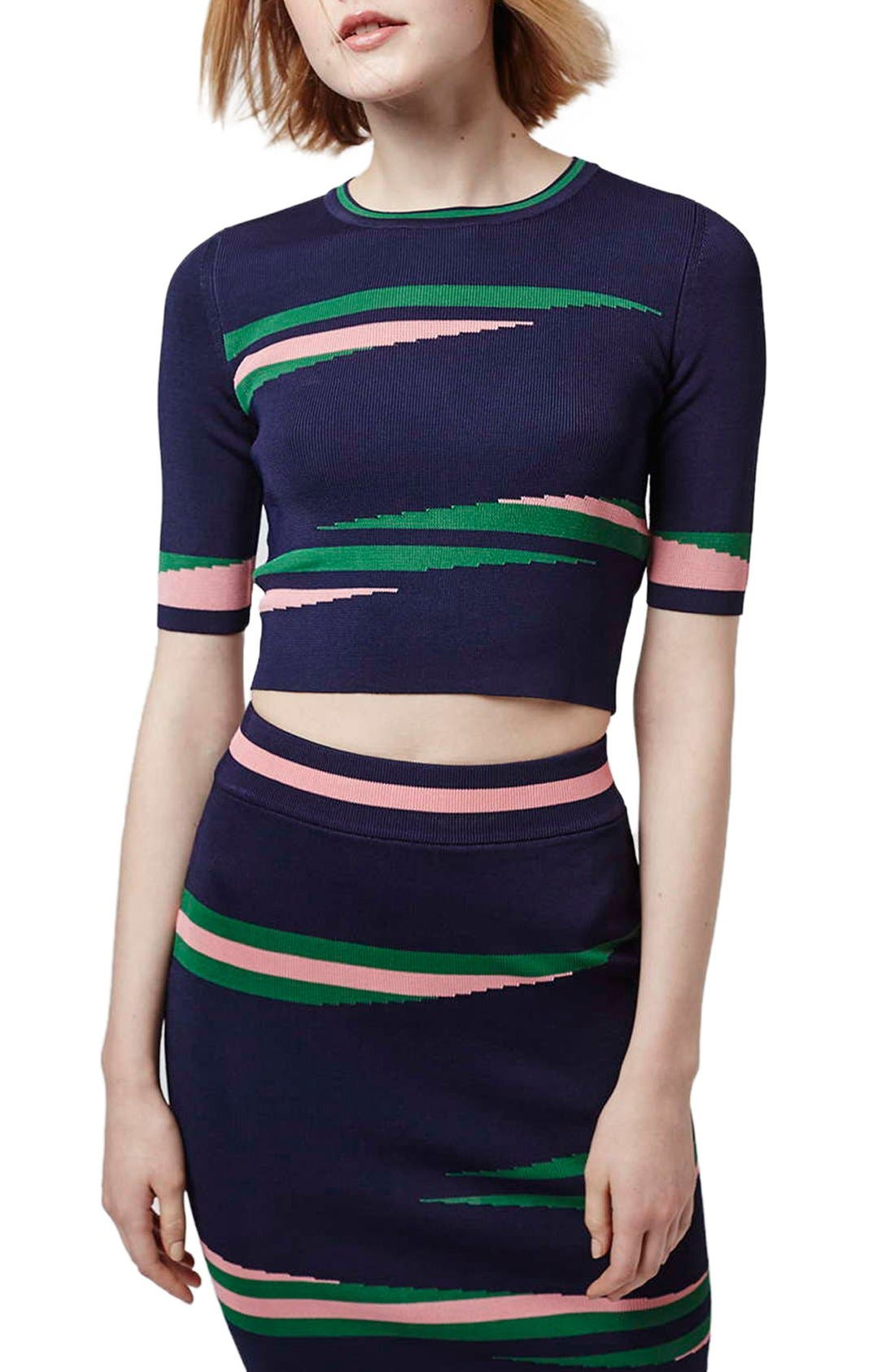'Eraser Stripe' Crop Top, Main, color, 410