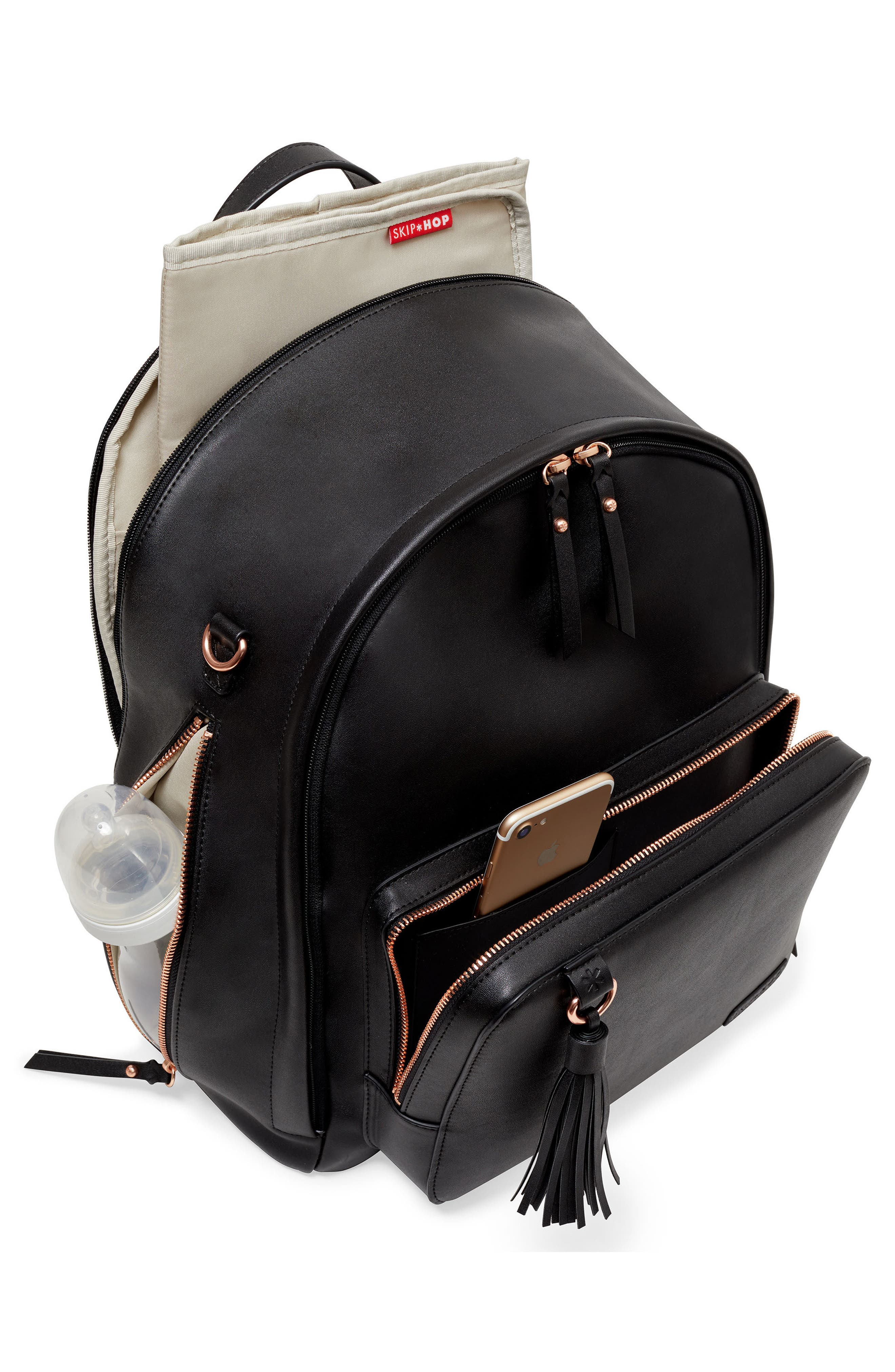 Greenwich Simply Chic Diaper Backpack,                             Alternate thumbnail 3, color,                             BLACK