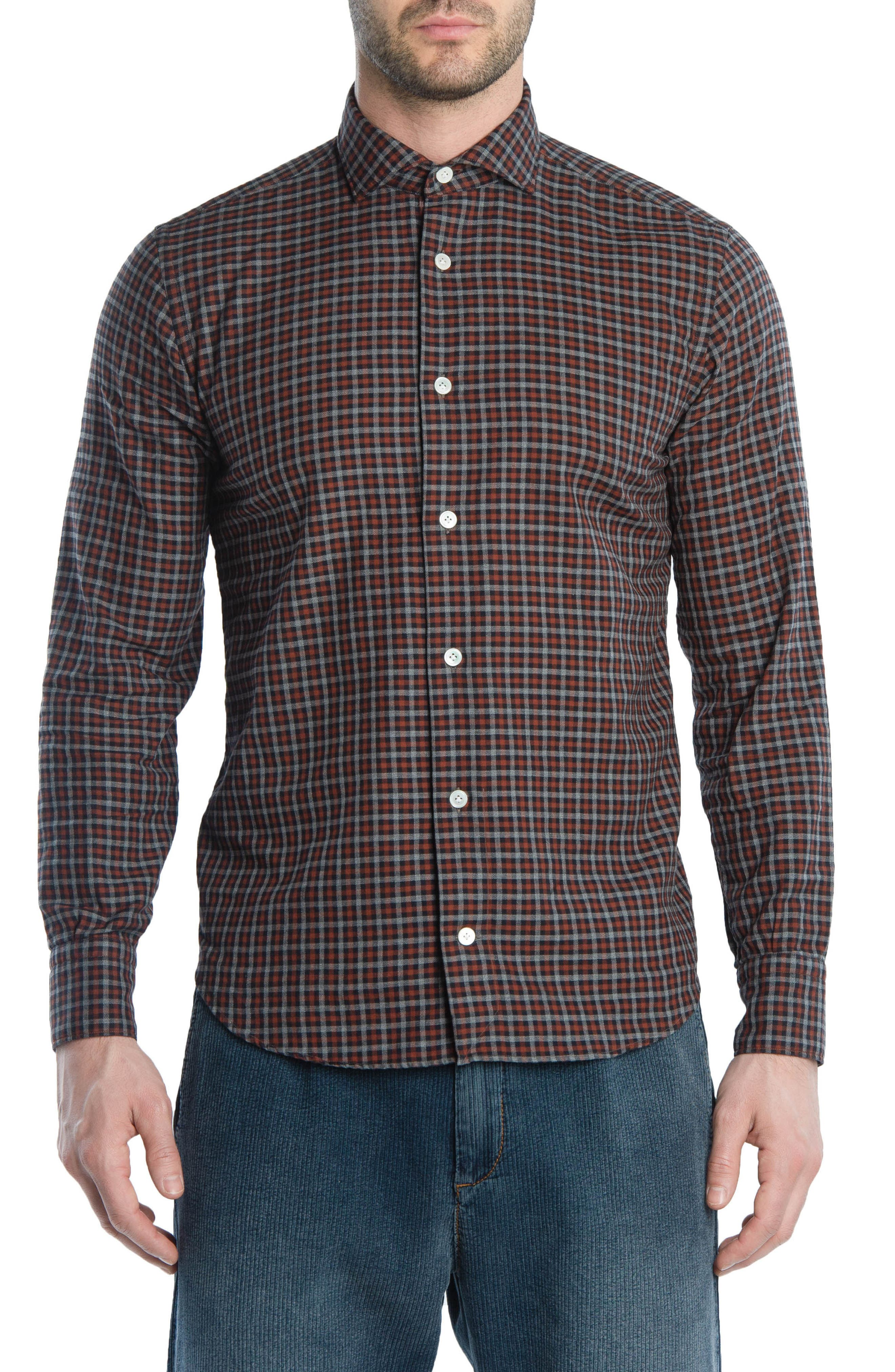 Trim Fit Check Sport Shirt,                         Main,                         color, RED
