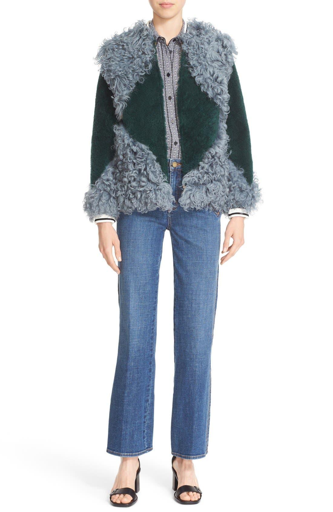'Bristol' Colorblock Genuine Shearling Jacket,                             Alternate thumbnail 6, color,                             318