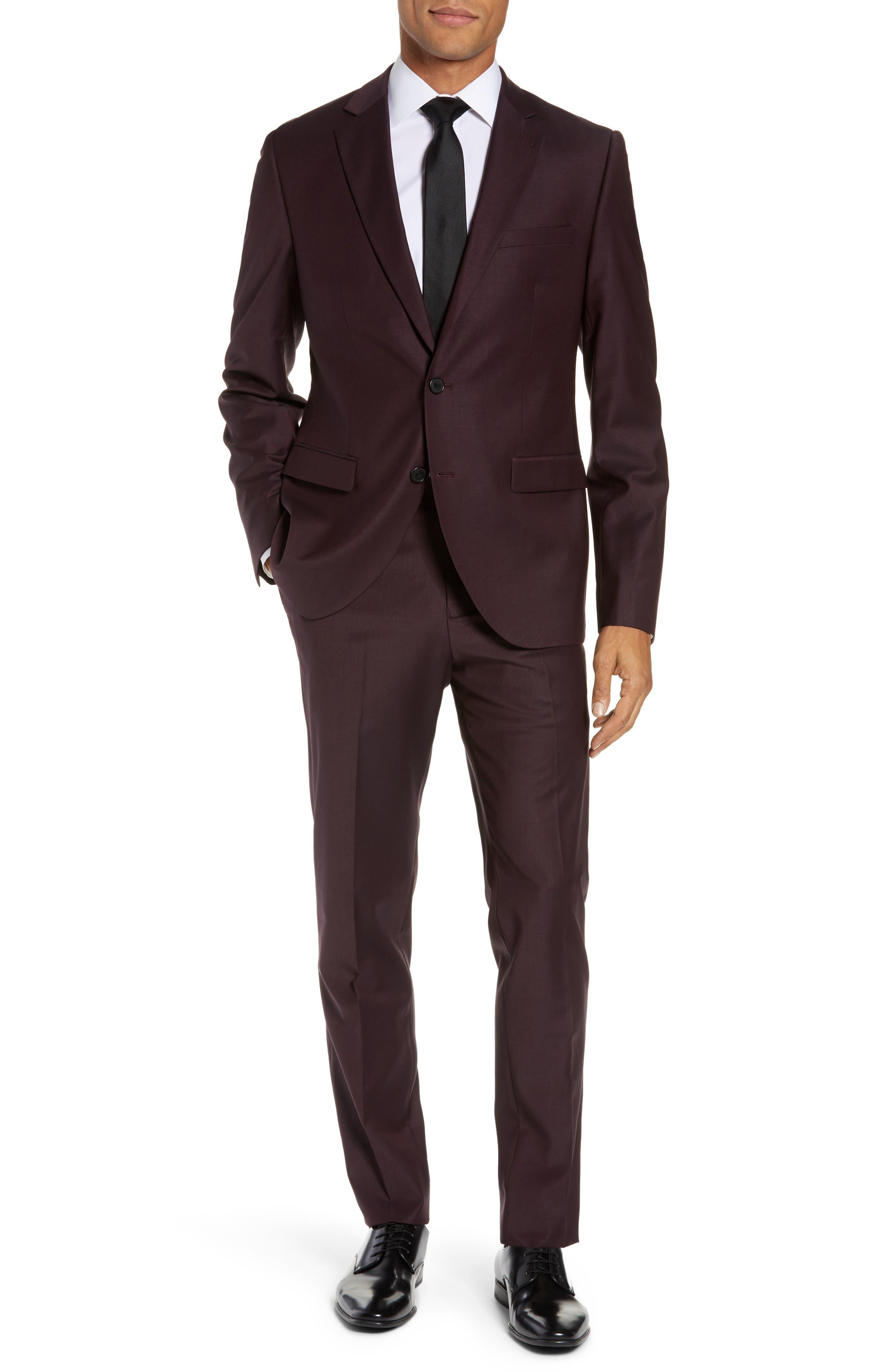 Extra Trim Fit Suit Jacket,                             Alternate thumbnail 6, color,                             BURGUNDY