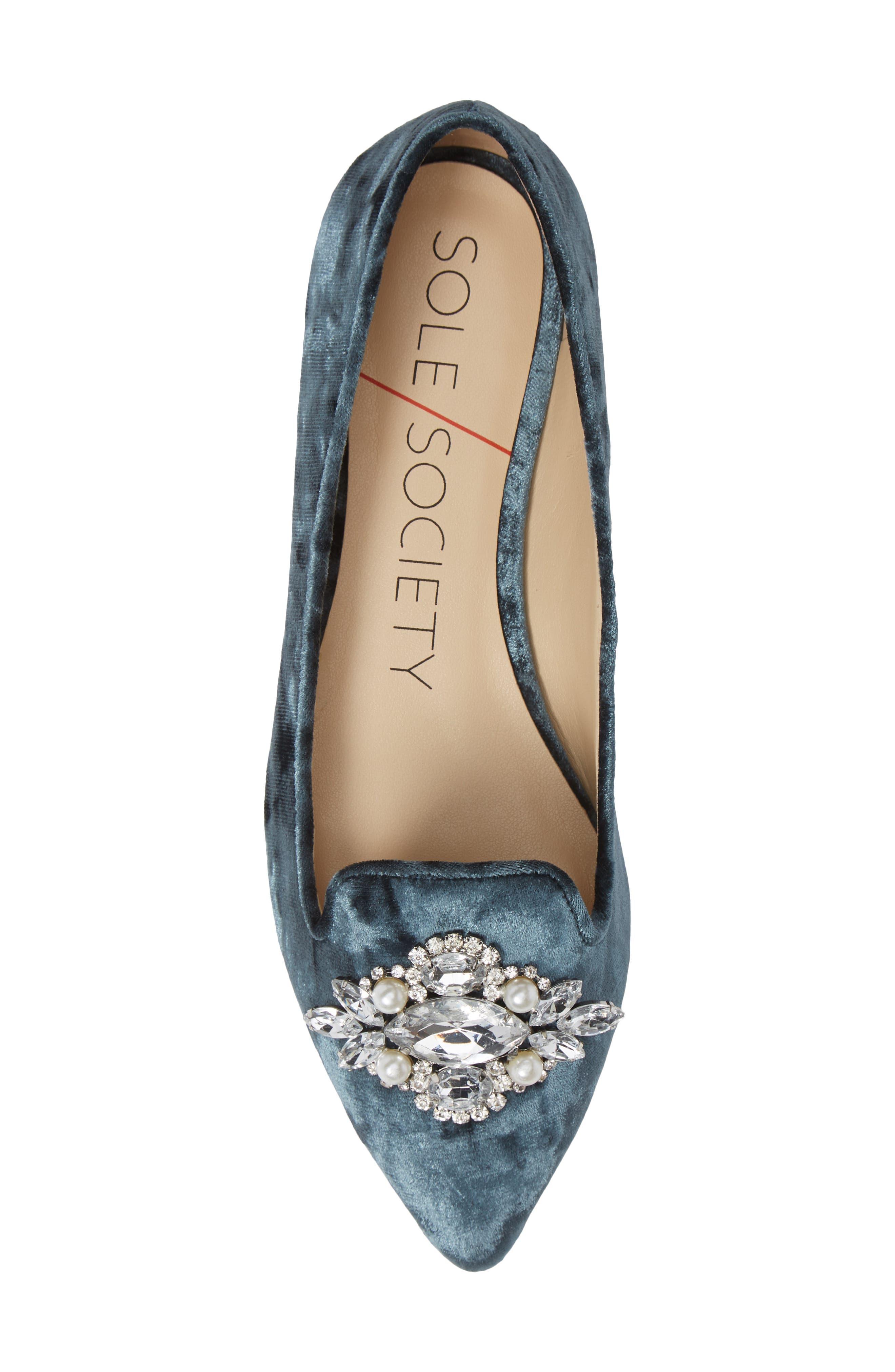 Libry Crystal Embellished Flat,                             Alternate thumbnail 5, color,                             CLOUD BLUE VELVET