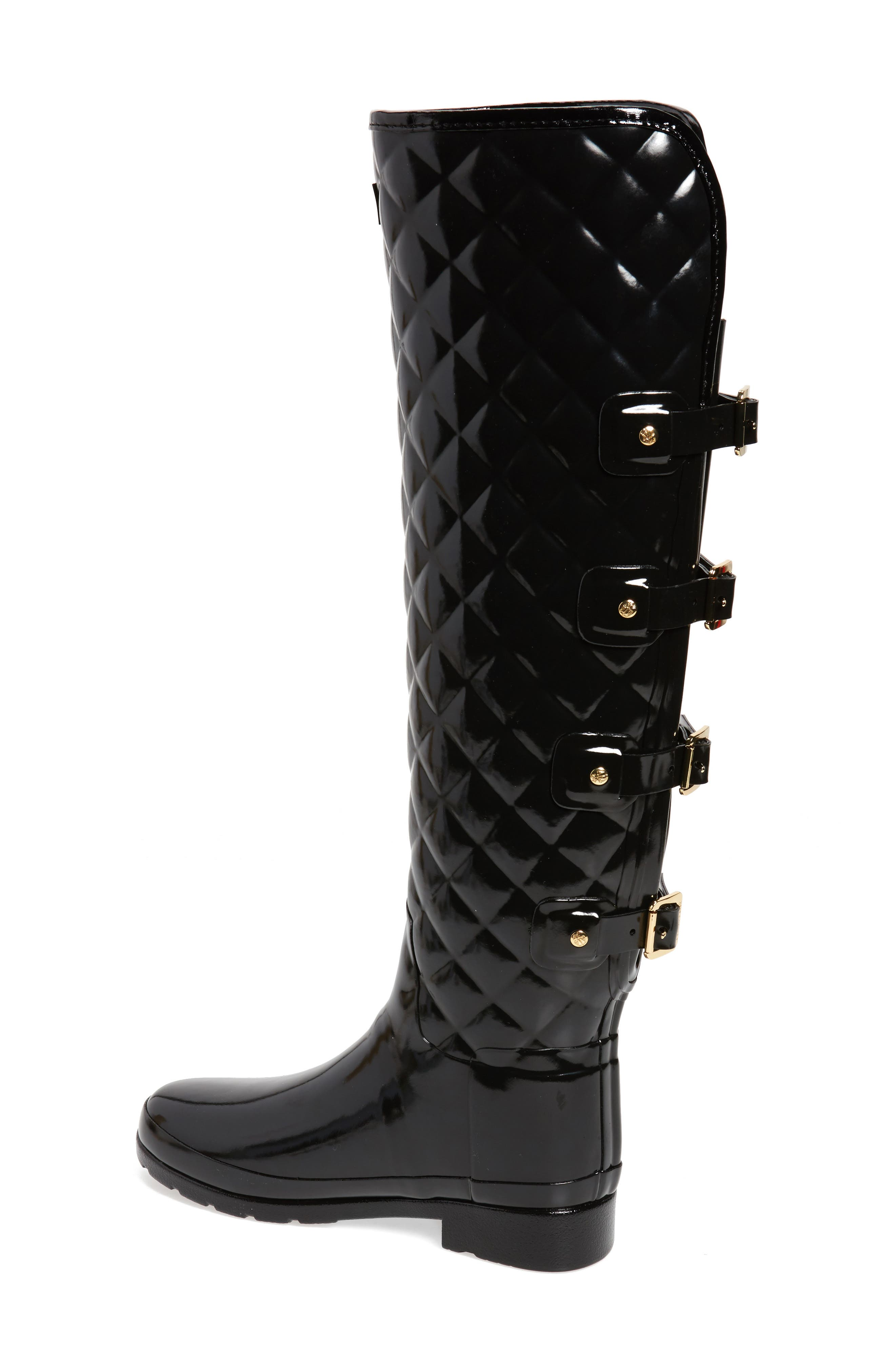 Refined Gloss Quilted Over the Knee Rain Boot,                             Alternate thumbnail 2, color,                             001
