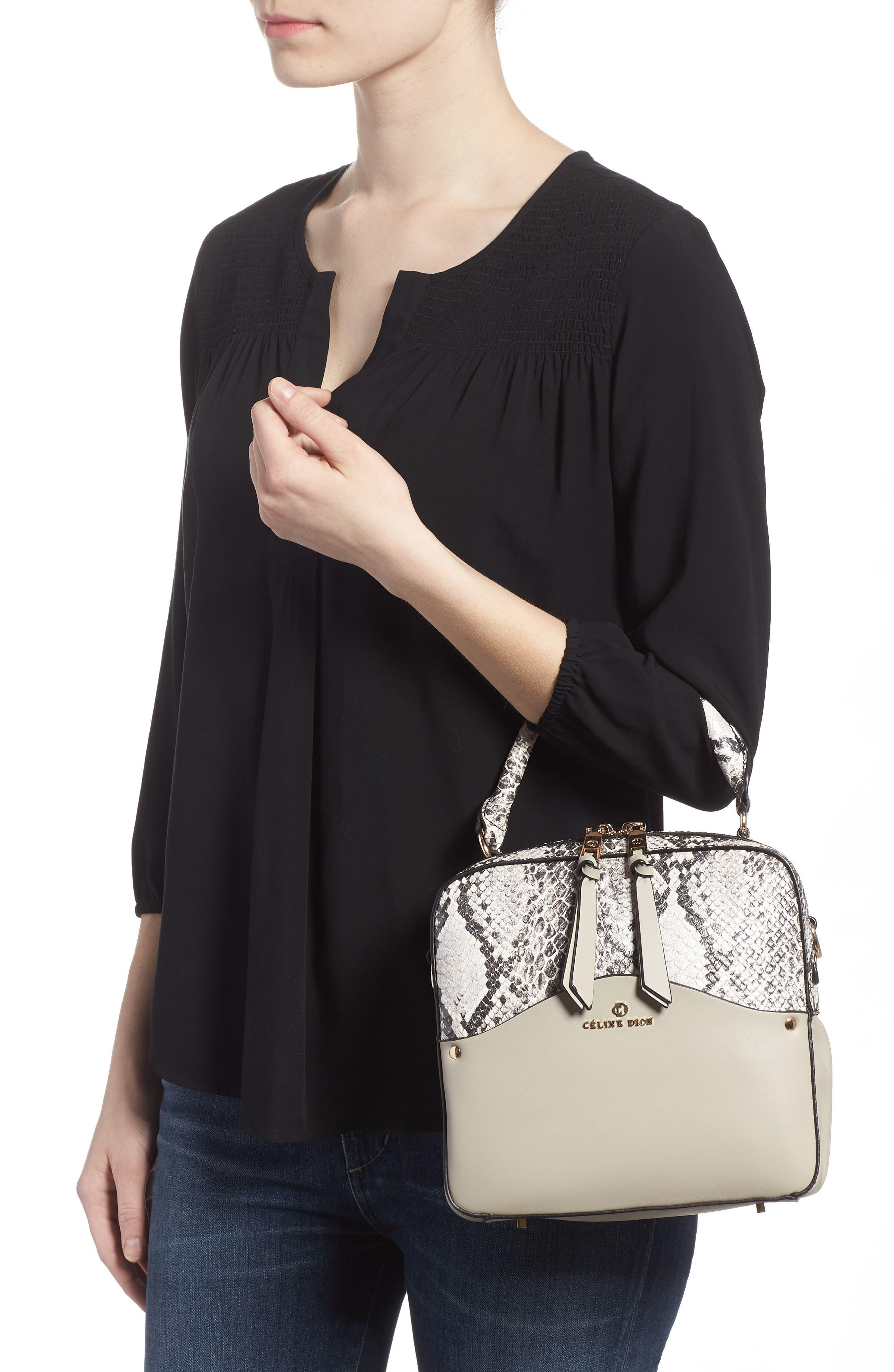 Céline Dion Motif Top Handle Leather Satchel,                             Alternate thumbnail 5, color,