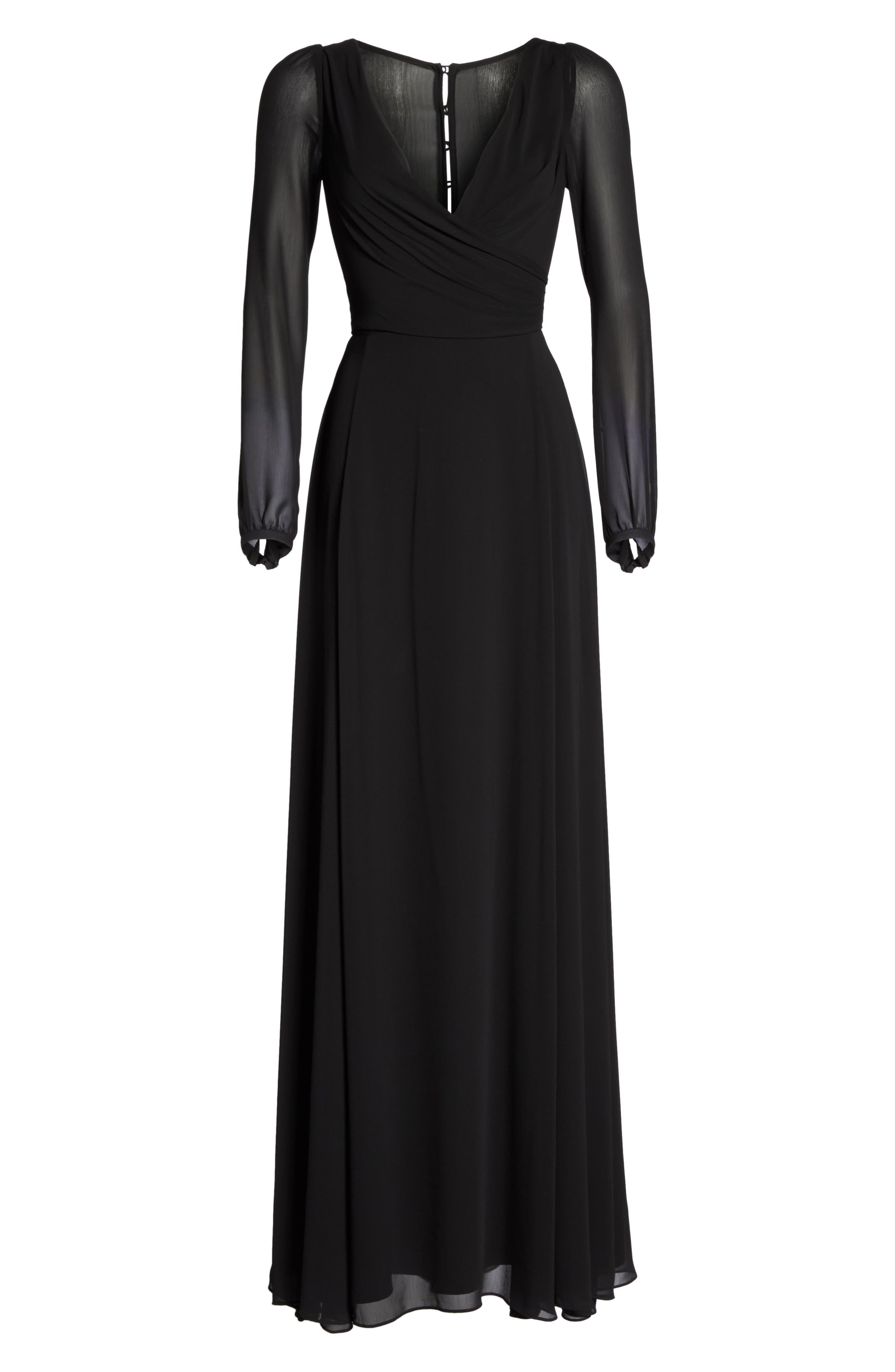 Donna Luxe Chiffon Surplice A-Line Gown,                             Alternate thumbnail 6, color,                             001
