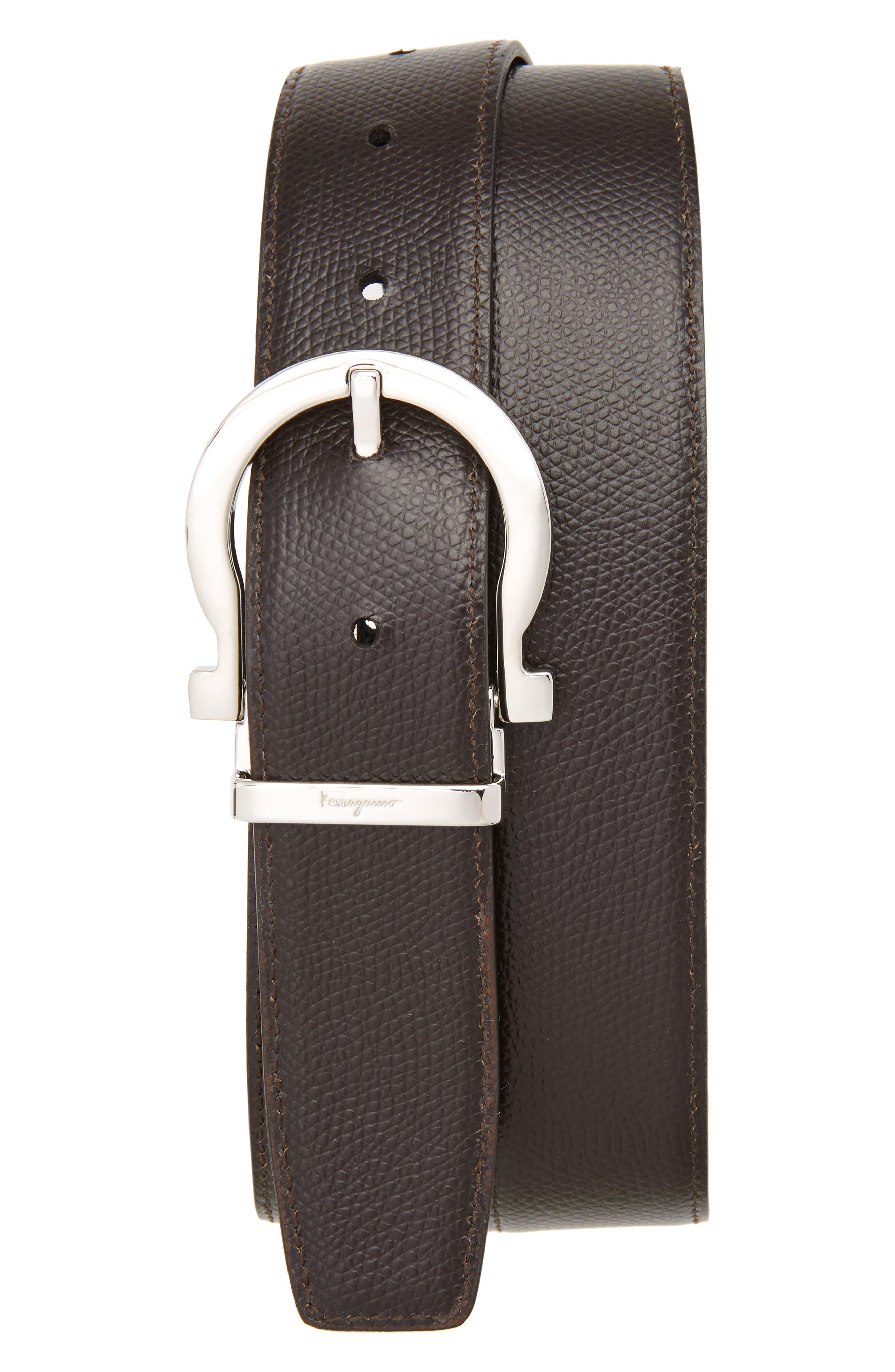 SALVATORE FERRAGAMO,                             Reversible Leather Belt,                             Alternate thumbnail 2, color,                             BLACK/ HICKORY