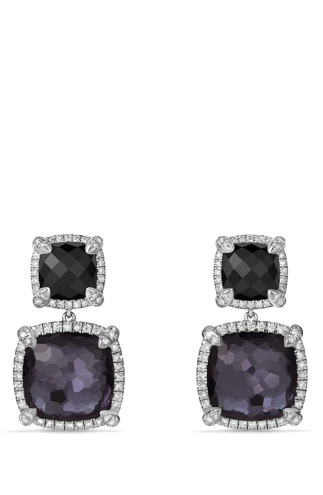 'Châtelaine' Pavé Bezel Double Drop Earrings with Diamonds,                             Main thumbnail 1, color,                             BLACK ONYX