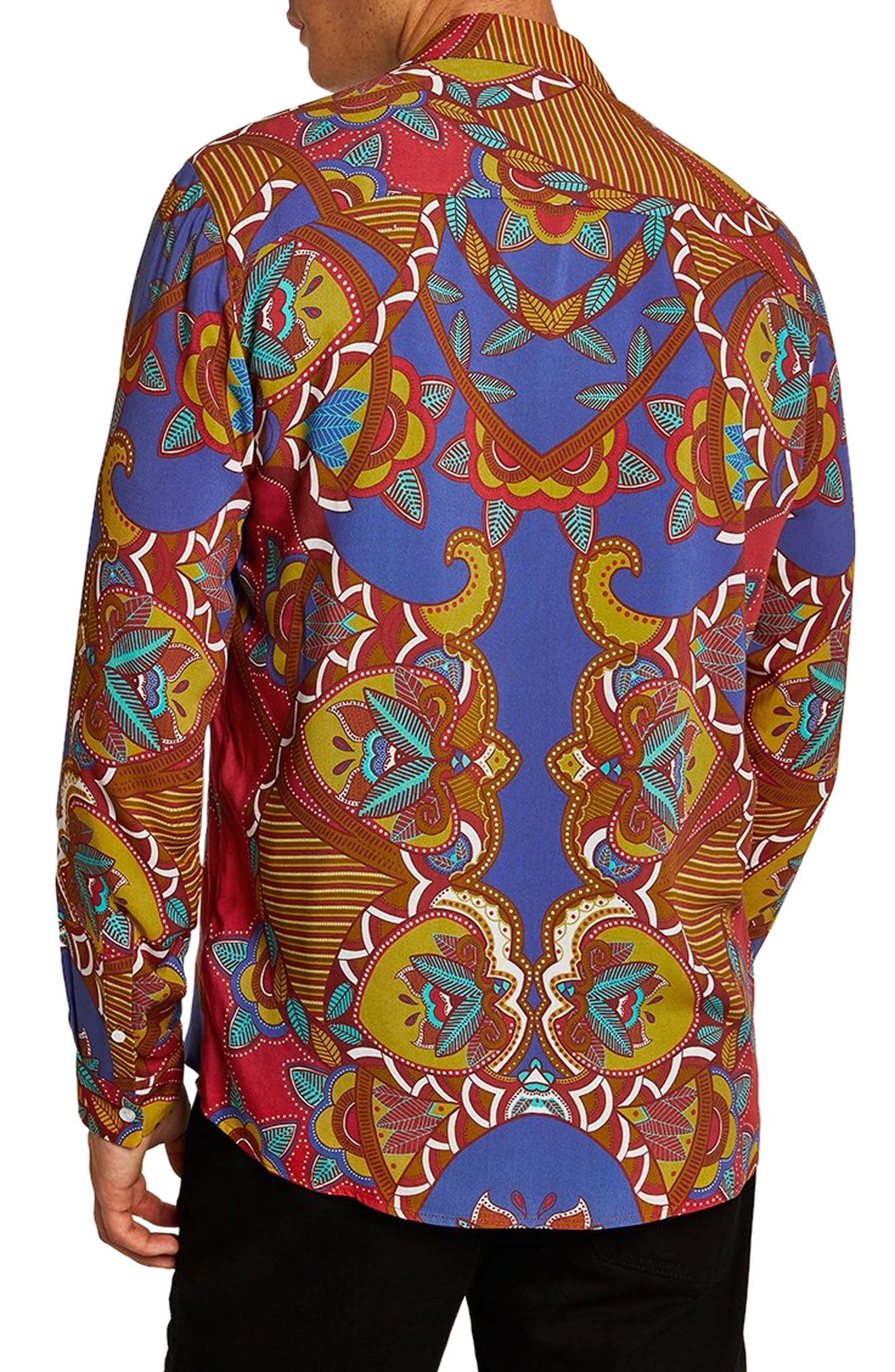 African Baroque Classic Fit Shirt,                             Alternate thumbnail 3, color,                             BLUE MULTI