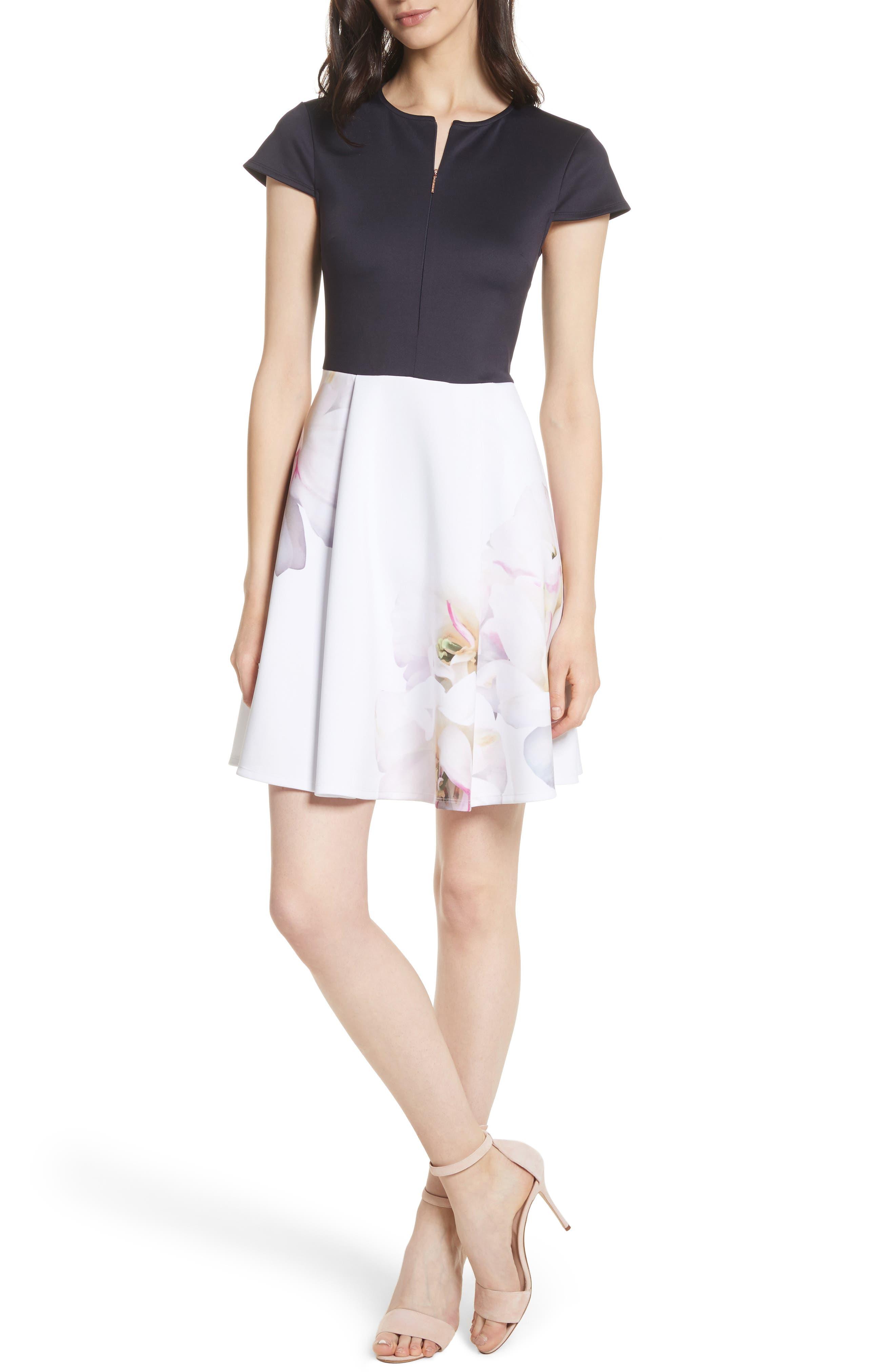 Gardenia Skater Dress,                             Main thumbnail 1, color,                             402