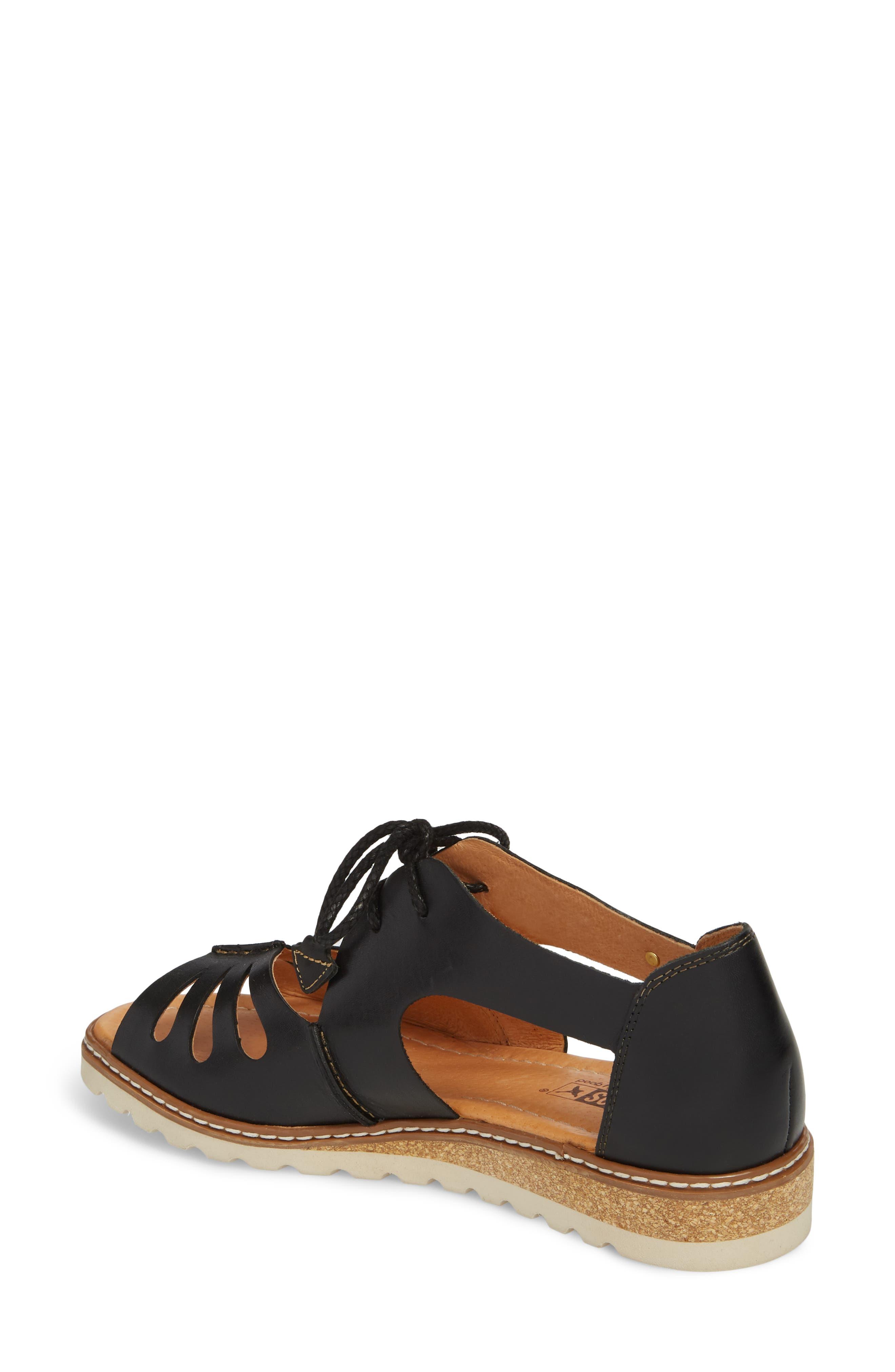 Alcudia Lace-Up Sandal,                             Alternate thumbnail 2, color,                             BLACK LEATHER