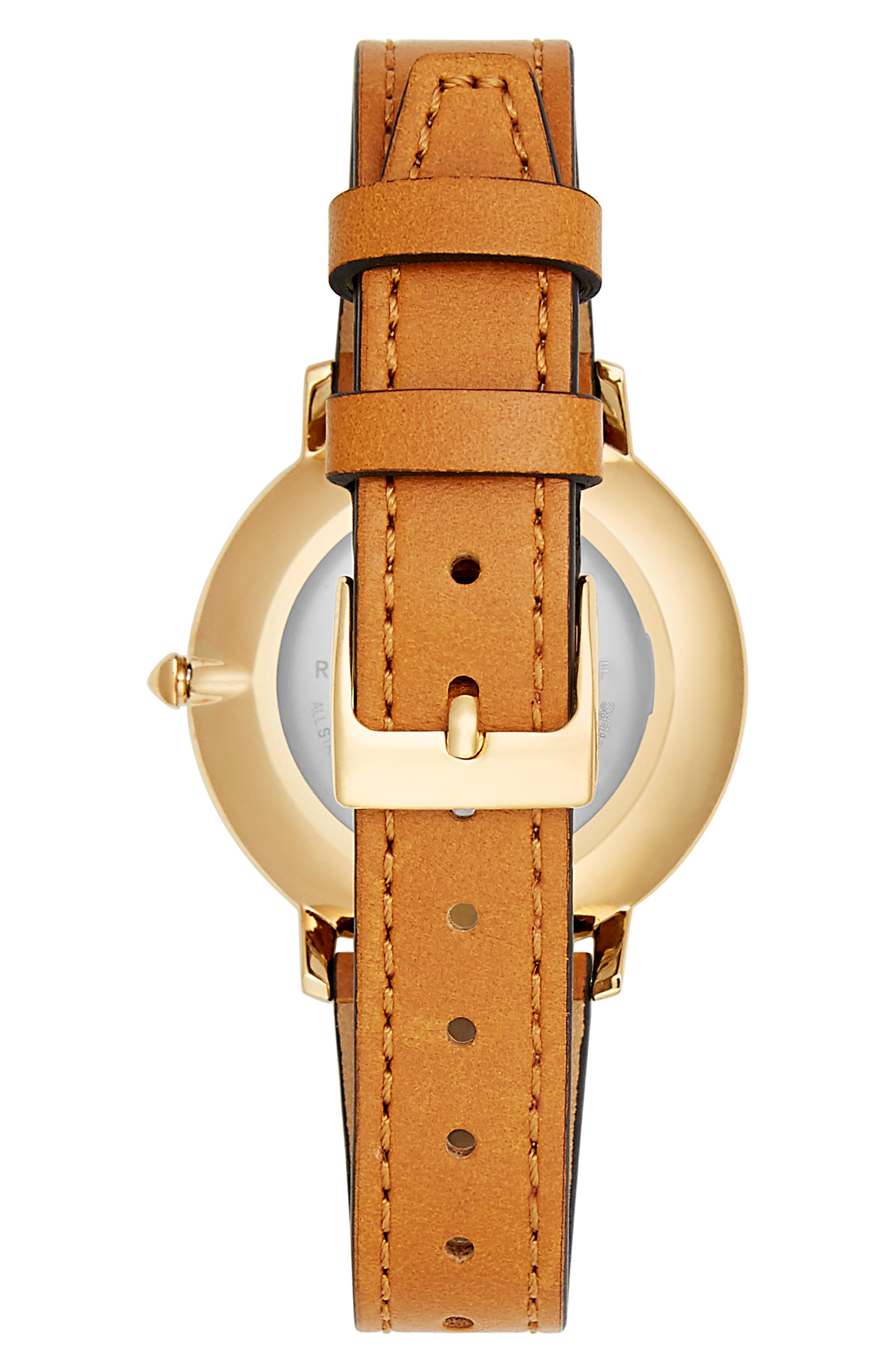 Rebeca Minkoff Major GRL PWR Leather Strap Watch, 35mm,                             Alternate thumbnail 2, color,                             ALMOND/ SILVER/ GOLD