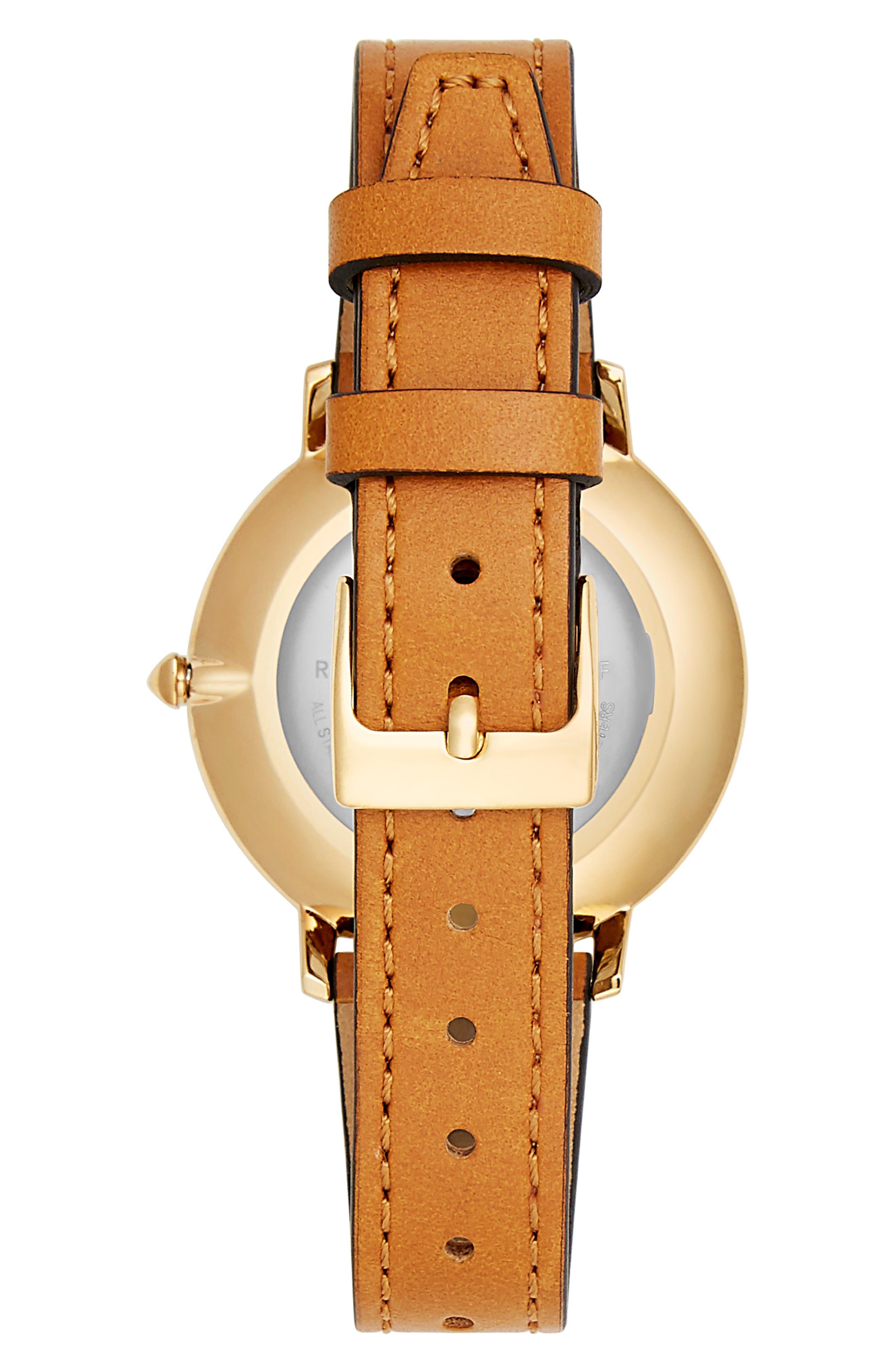 REBECCA MINKOFF,                             Rebeca Minkoff Major GRL PWR Leather Strap Watch, 35mm,                             Alternate thumbnail 2, color,                             200