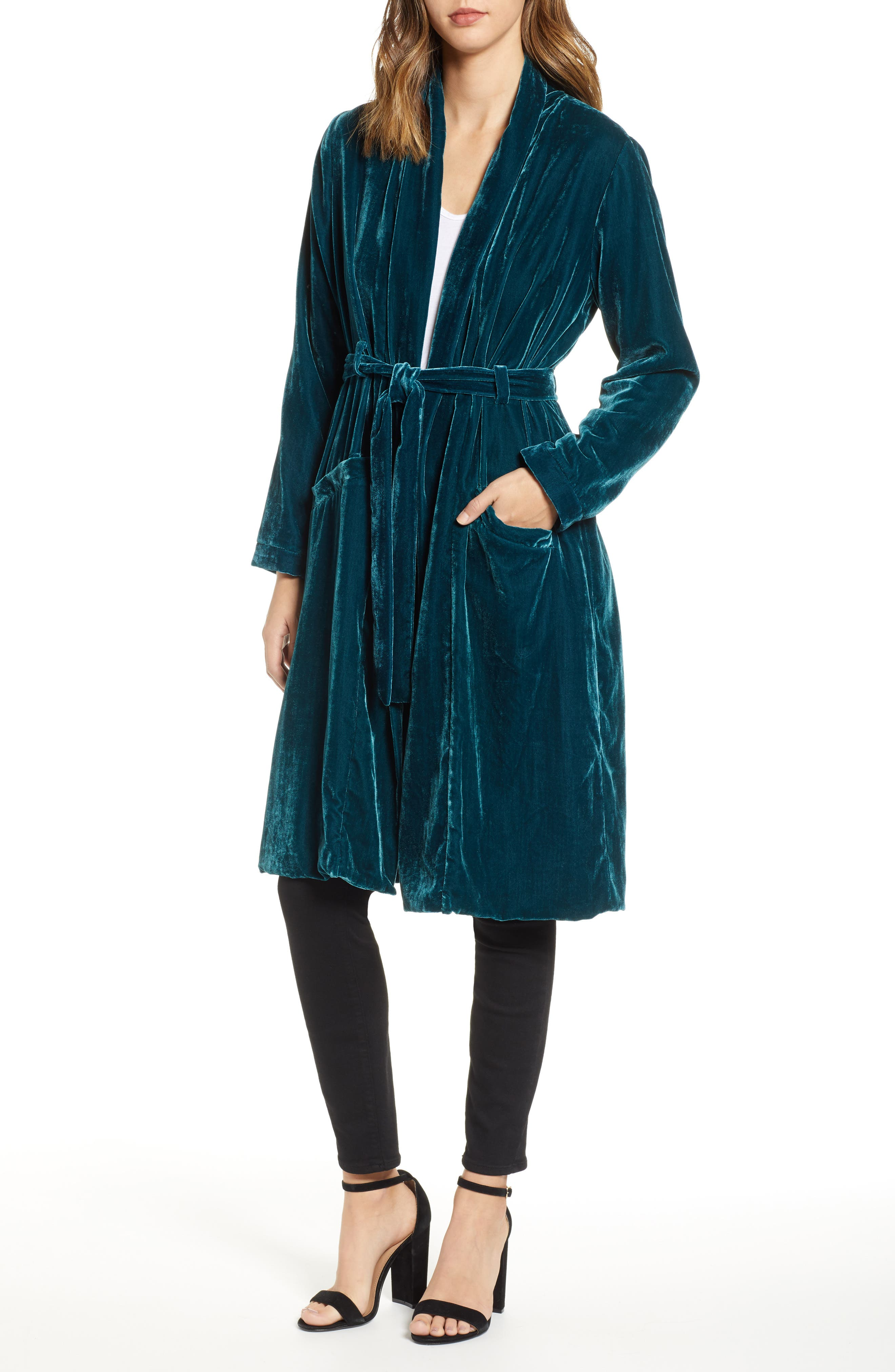 CUPCAKES AND CASHMERE Belted Velvet Duster, Main, color, FOREST GREEN