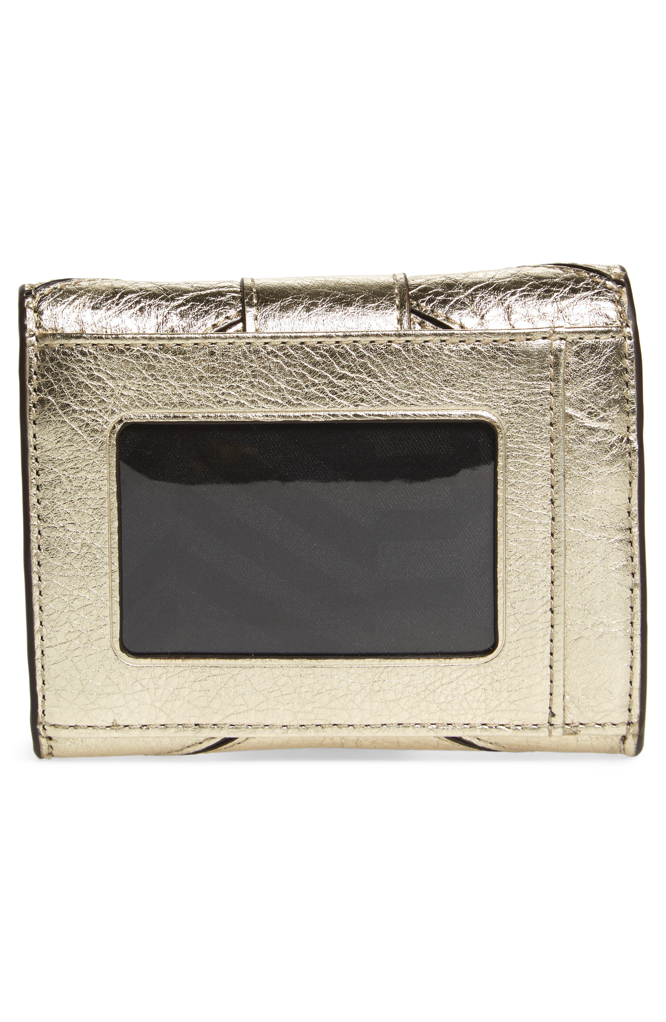 Love Lock Metallic Leather Wallet,                             Alternate thumbnail 4, color,