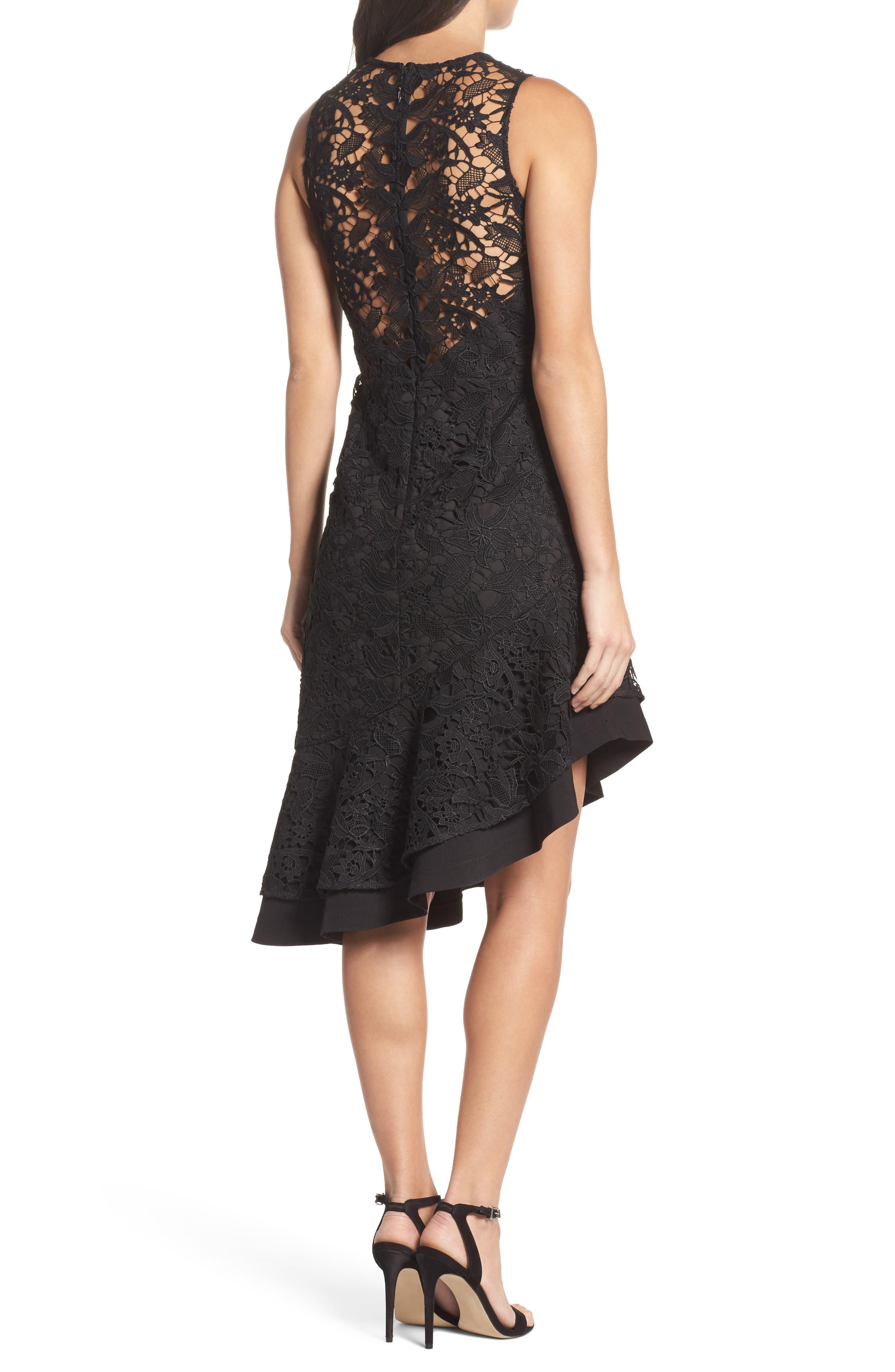 Lace Asymmetrical Dress,                             Alternate thumbnail 2, color,                             001