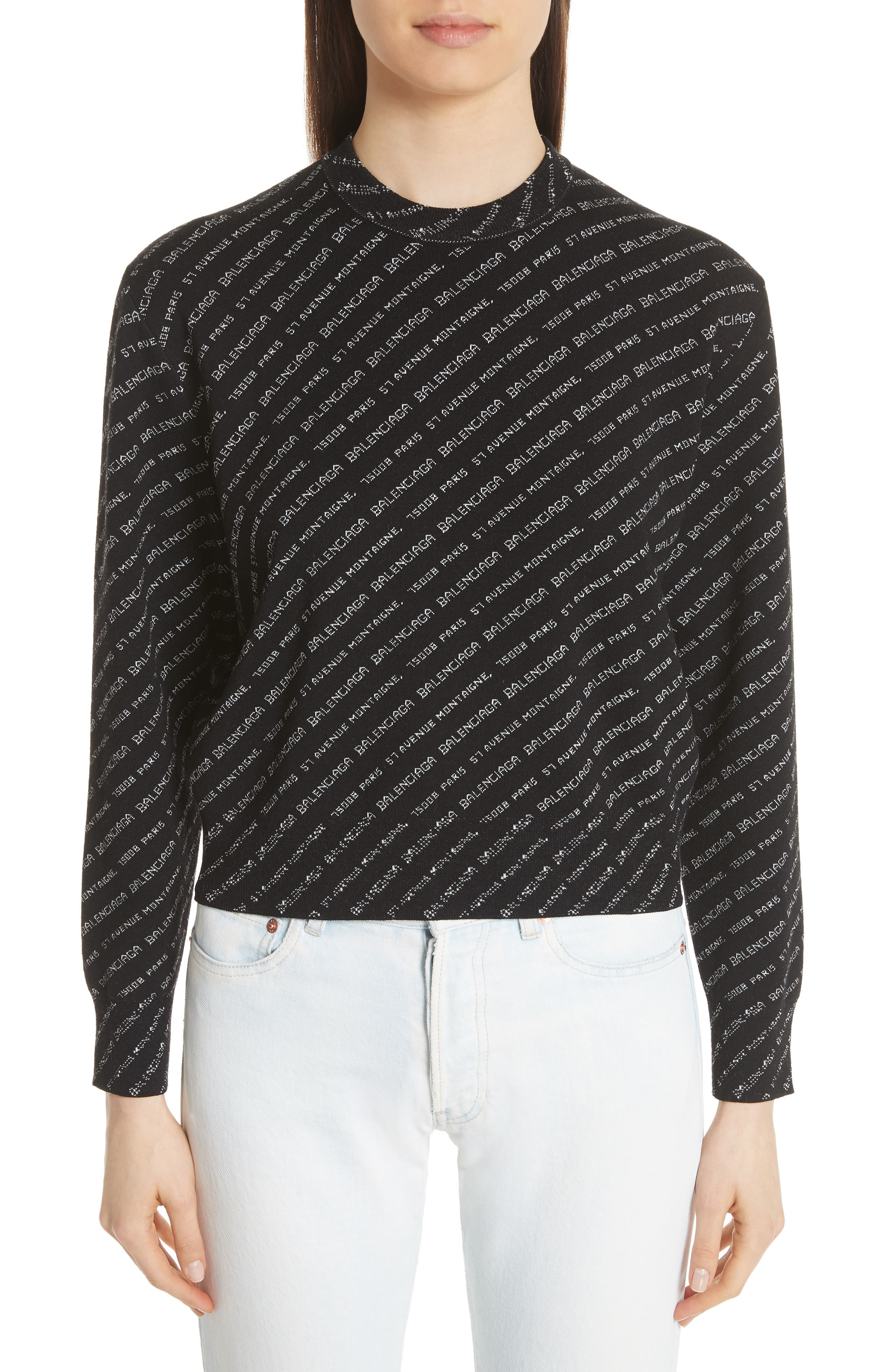 BALENCIAGA Logo Knit Sweater, Main, color, 001