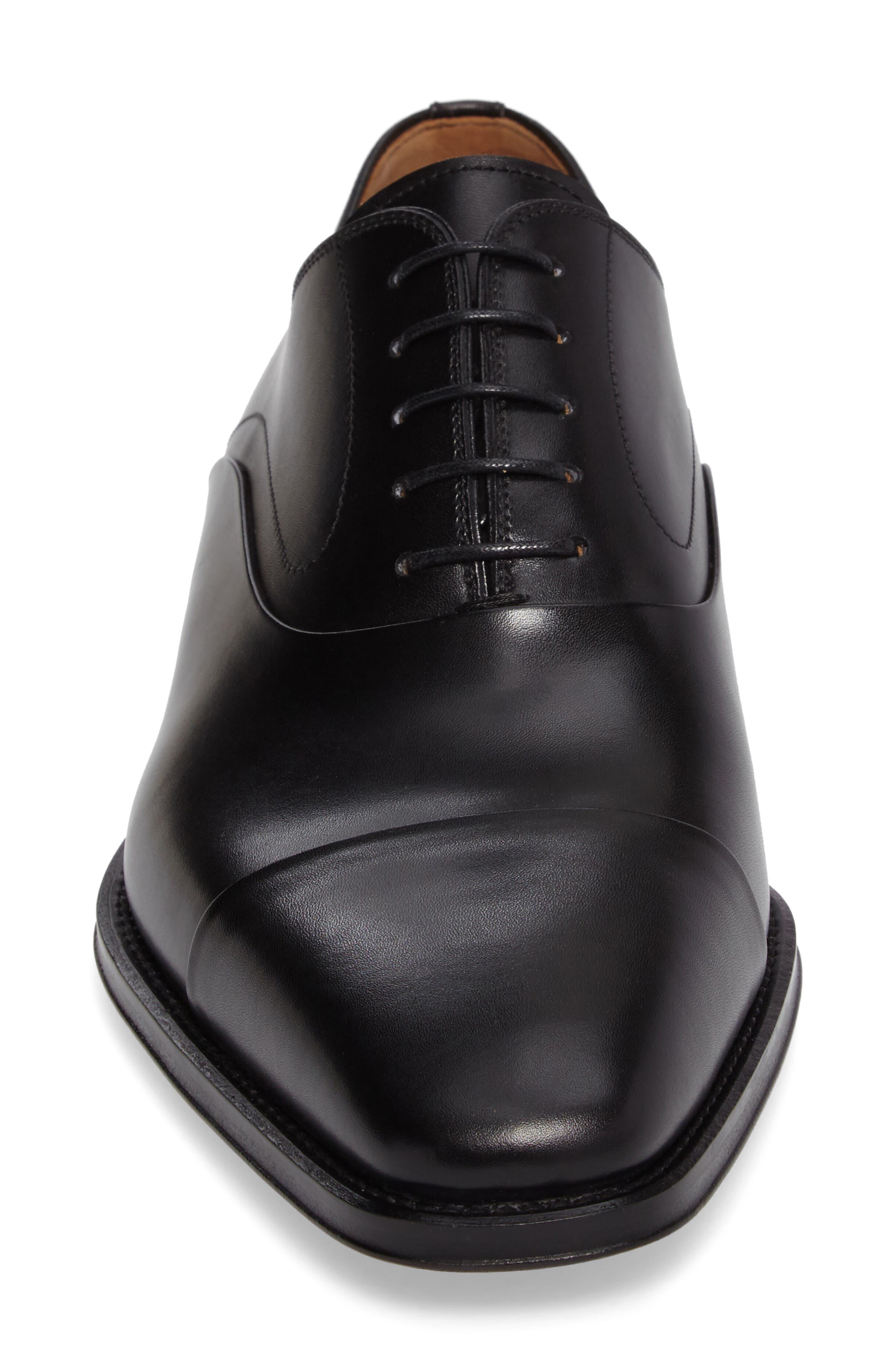 MAGNANNI,                             Saffron Cap Toe Oxford,                             Alternate thumbnail 4, color,                             BLACK LEATHER