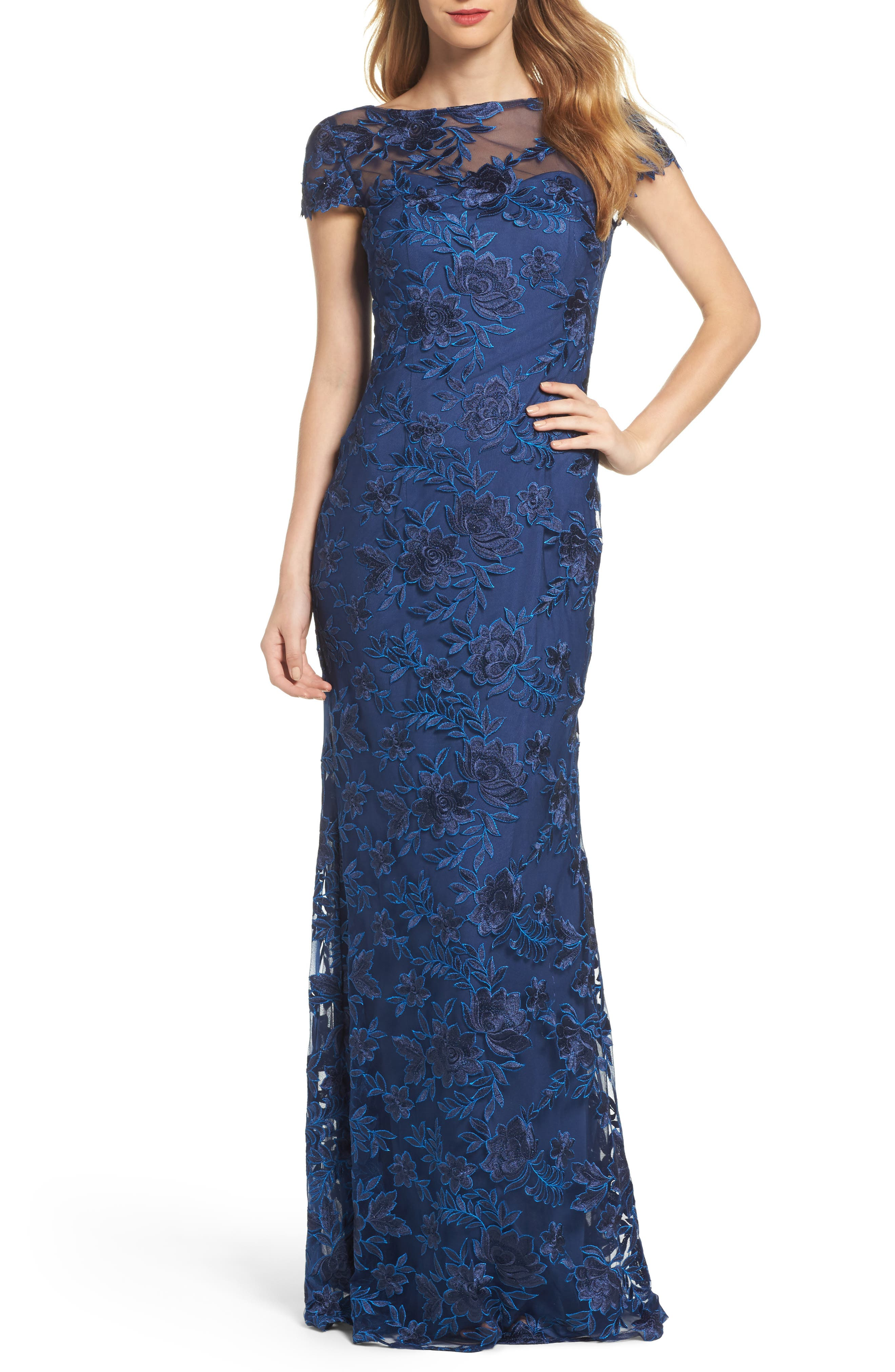 La Femme Lace Overlay Gown, Blue