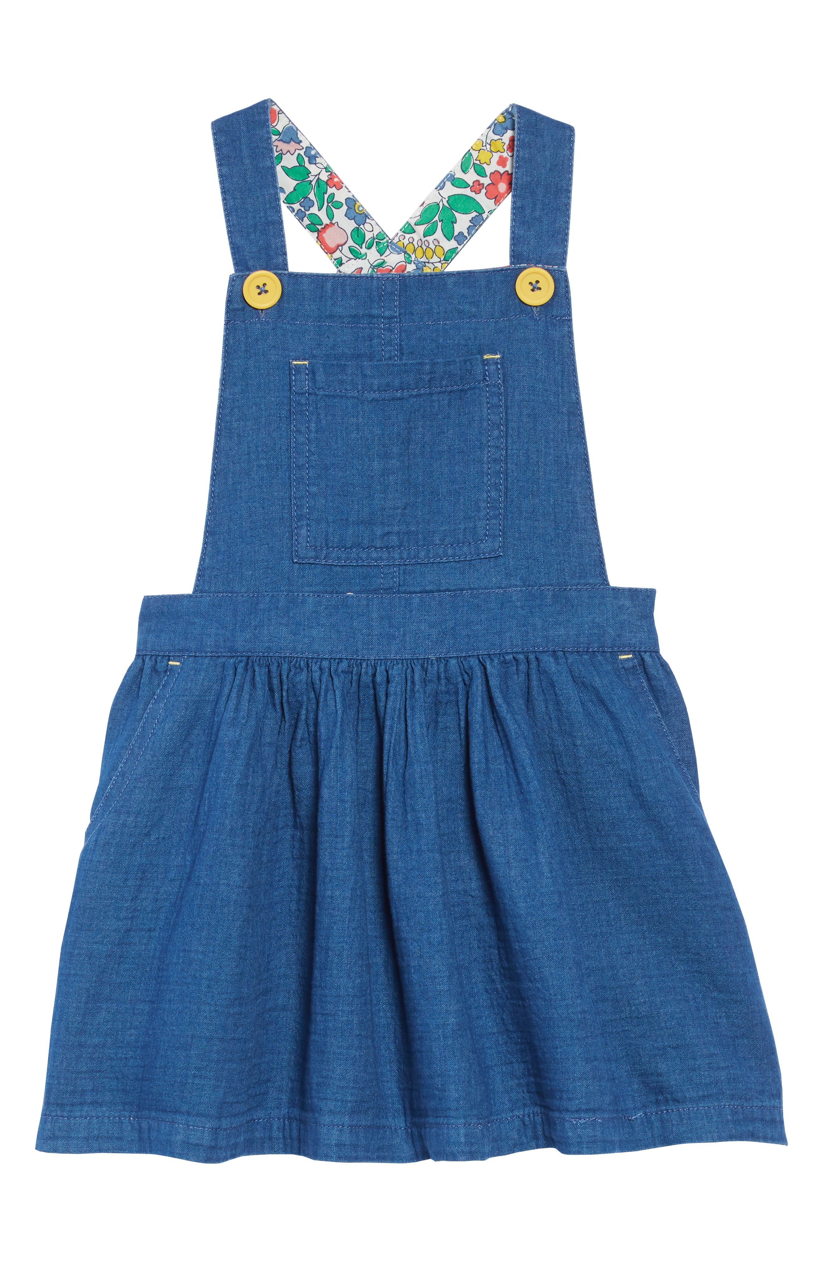 Toddler Girls Mini Boden Dungaree Overall Dress Size 34Y  Blue